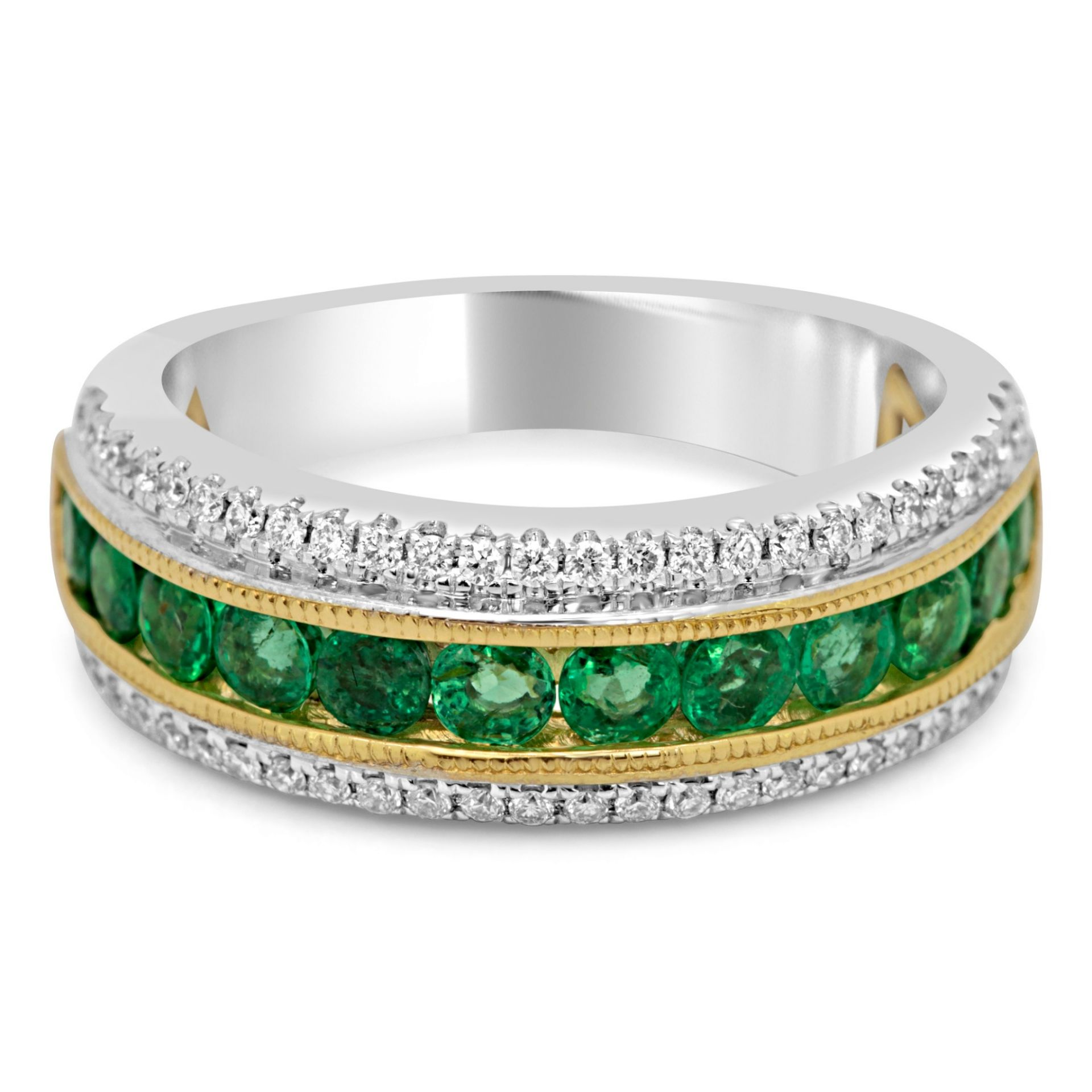 Emerald Diamond Two Color Gold Fashion Band Ring