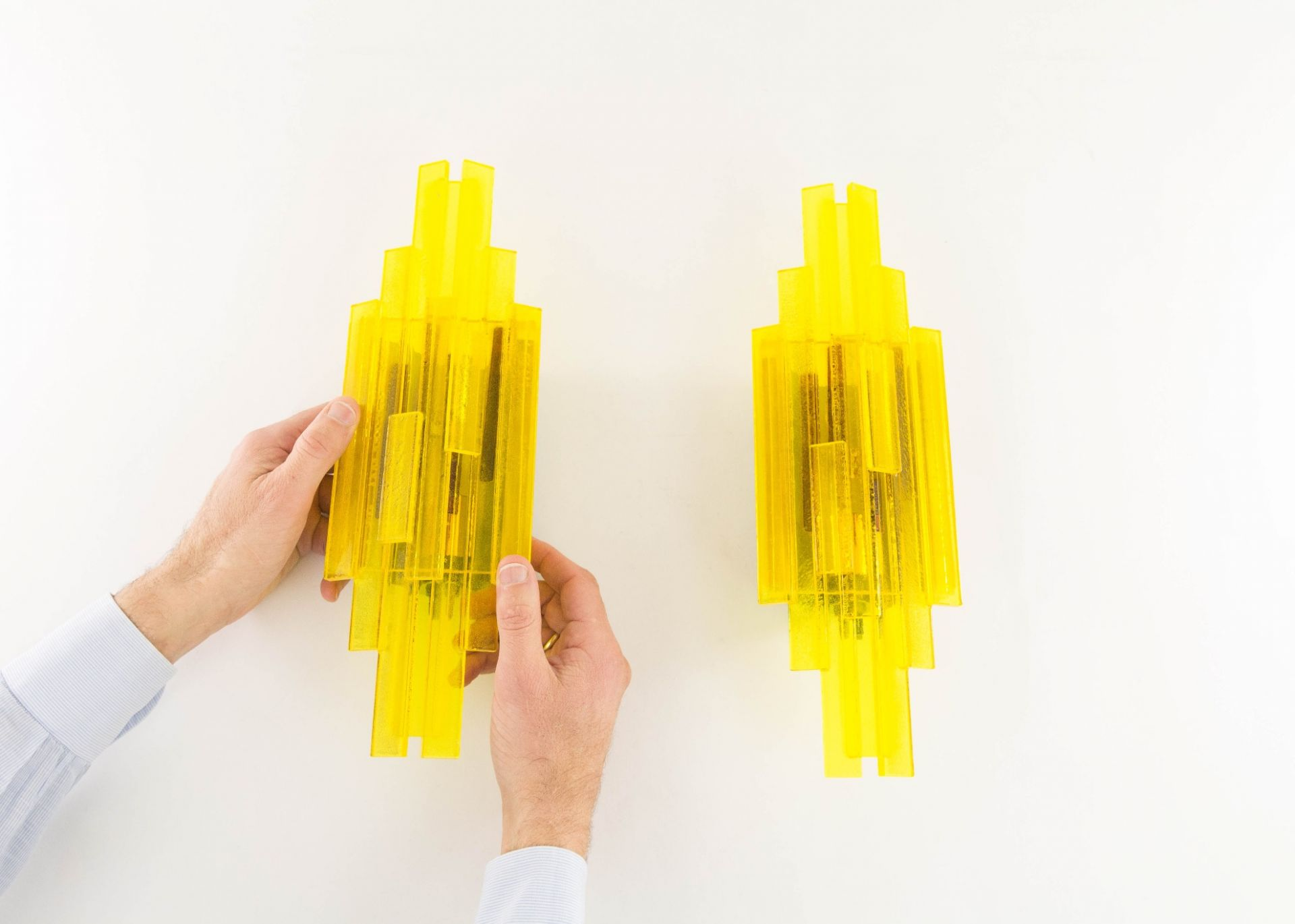 Pair of yellow acrylic wall lamps by Claus Bolby for Cebo Industri, 1960s