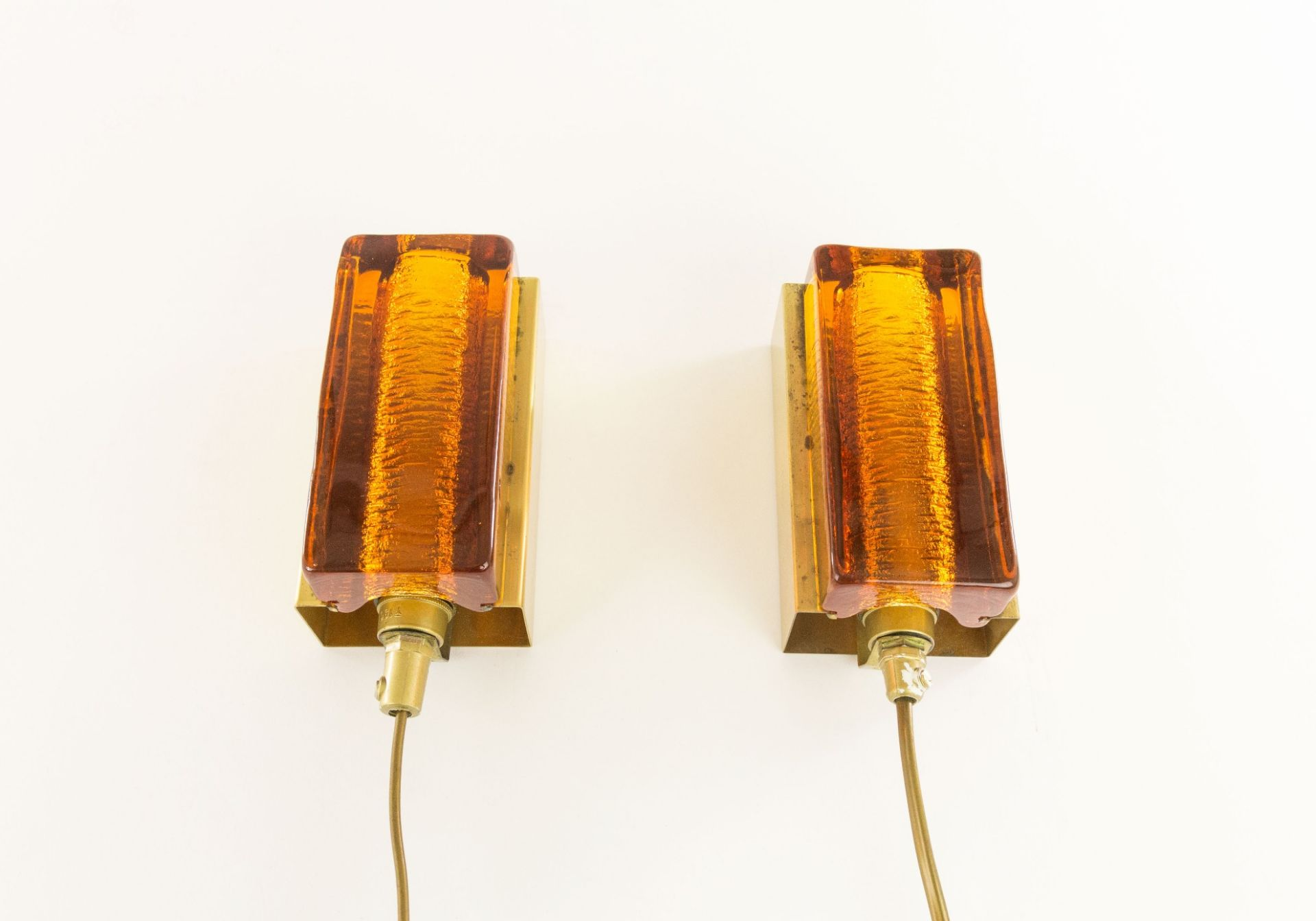 Pair of Amber Atlantic Wall lamps by Vitrika, 1970s