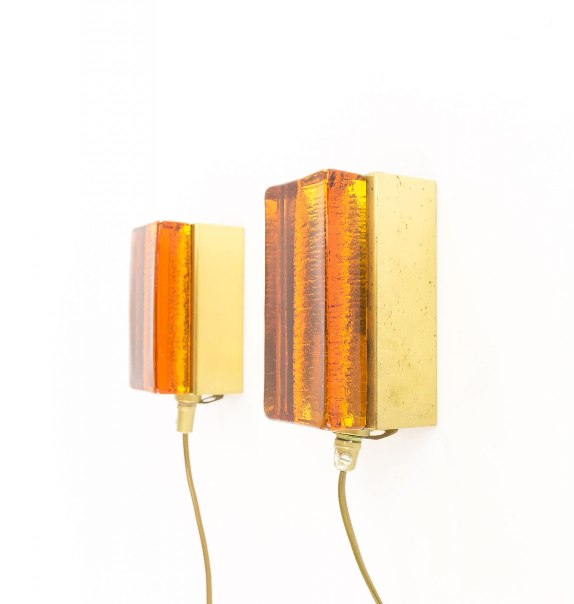 Pair of Amber Atlantic Wall lamps by Vitrika, 1970s