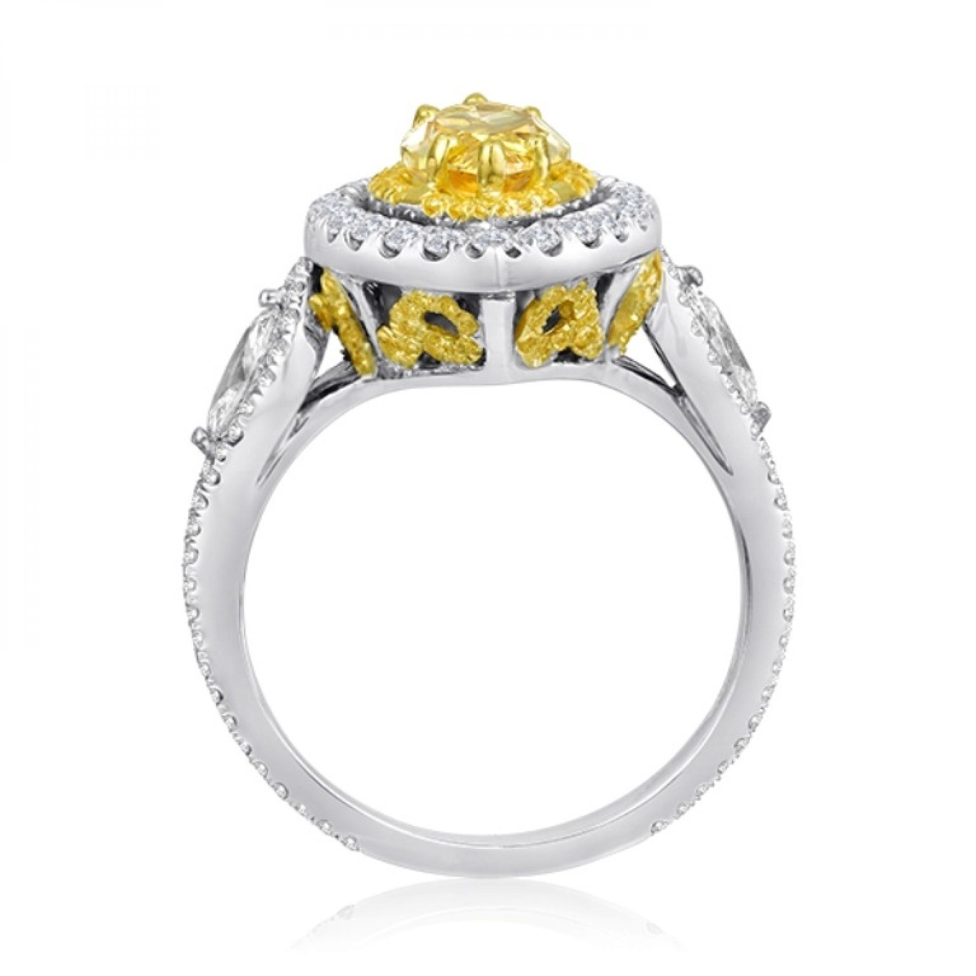 GIA Certified Fancy Intense Yellow Marquise Diamond Double Halo Gold Bridal Ring