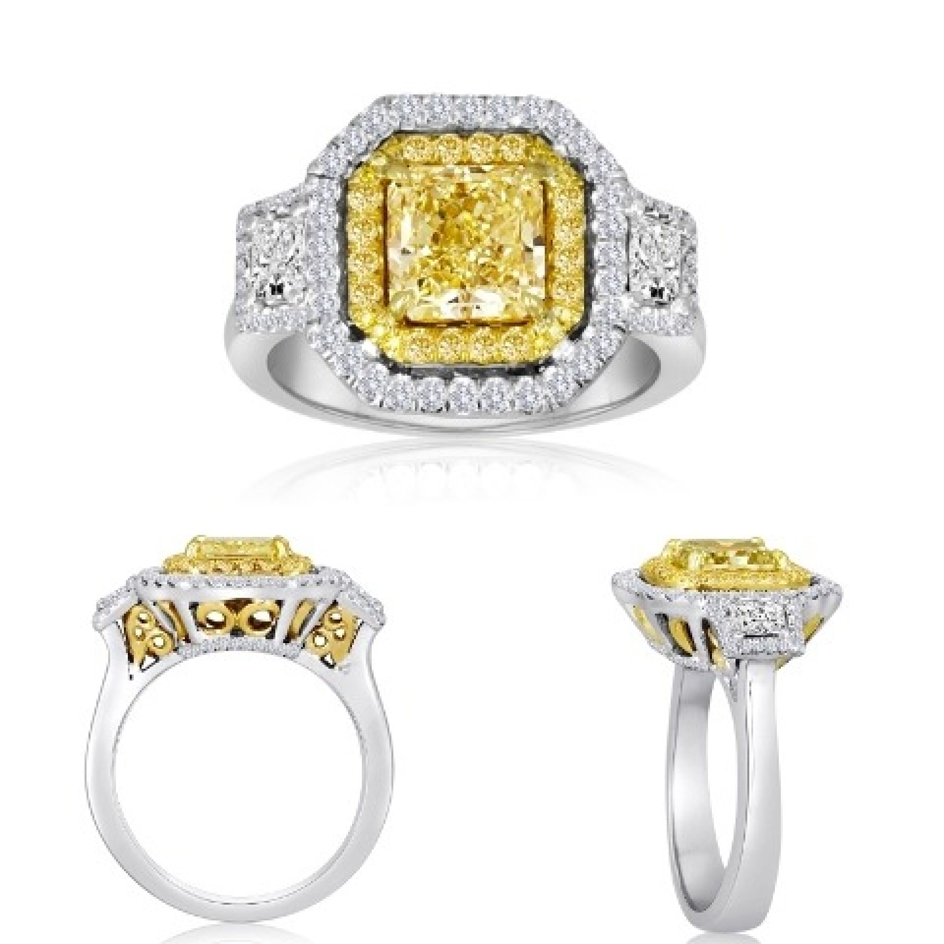 GIA Certified Fancy Yellow Diamond Halo Three Stone Twotone Gold Bridal Ring