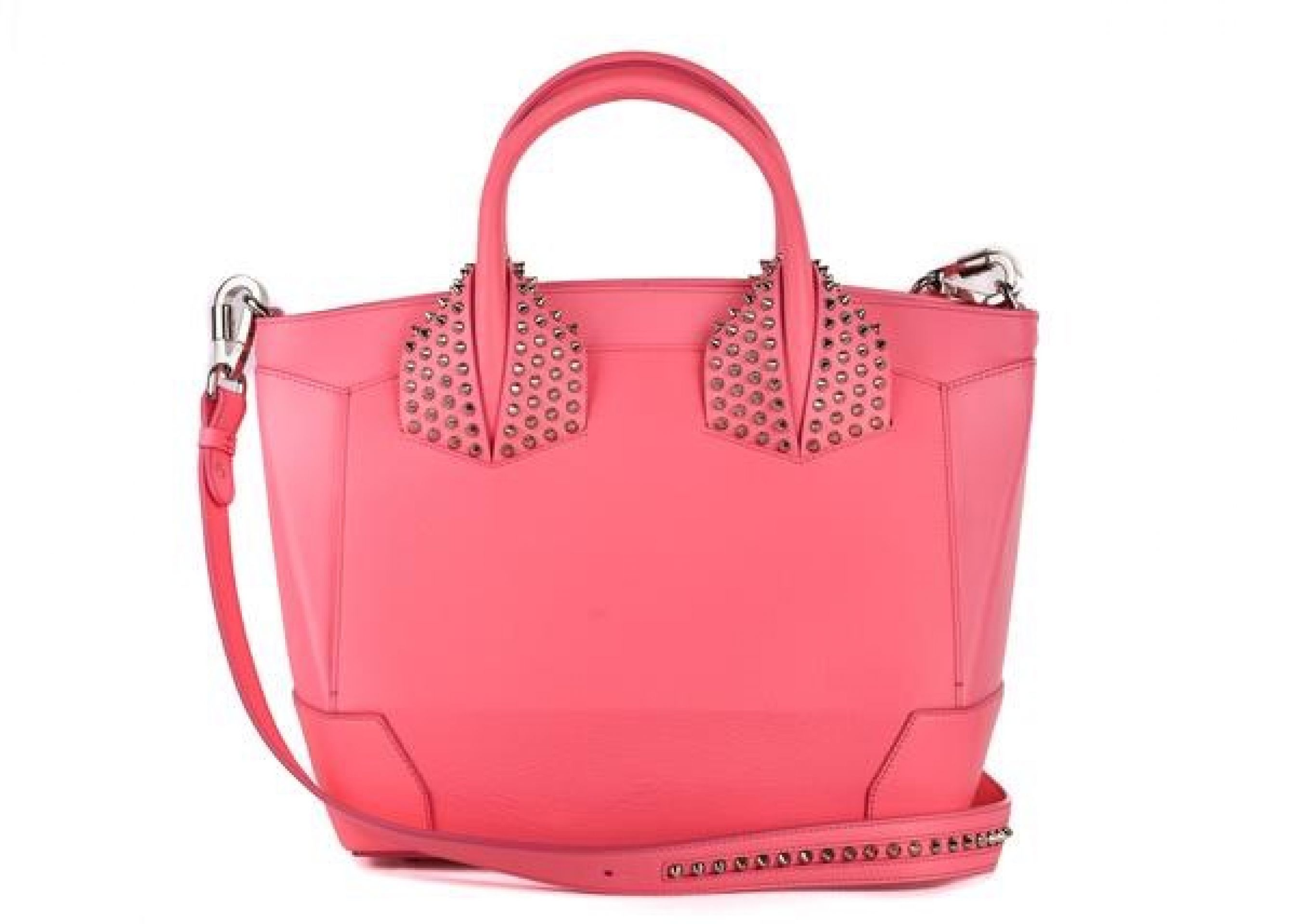 CHRISTIAN LOUBOUTIN WOMENS ELOISE PINK LARGE STUDDED LEATHER TOTE BAG