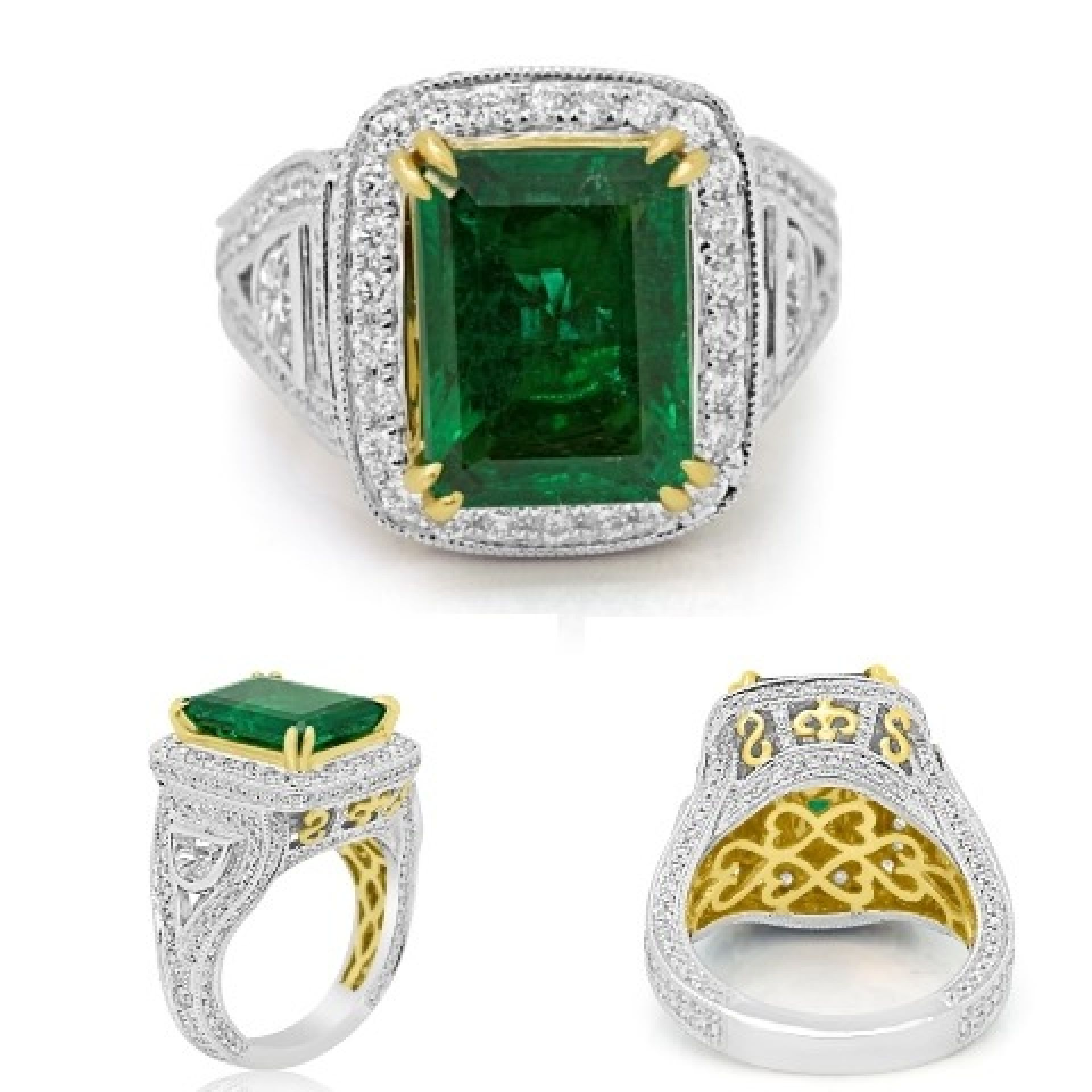 GIA Certified Gem Quality Emerald Diamond Two Color Gold Halo Ring
