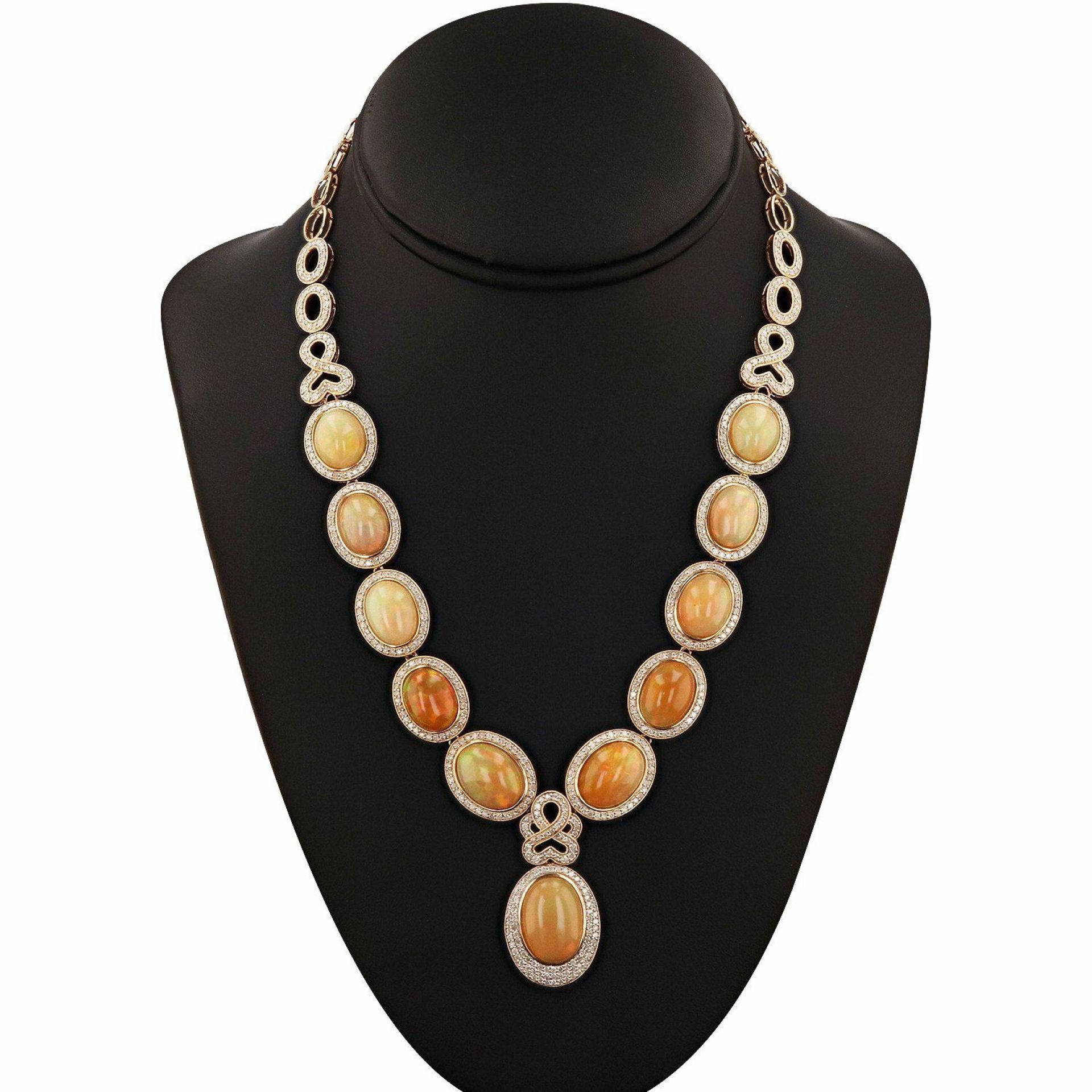 47.26ctw Opal and 4.95ctw Diamond 14KT Yellow Gold Necklace