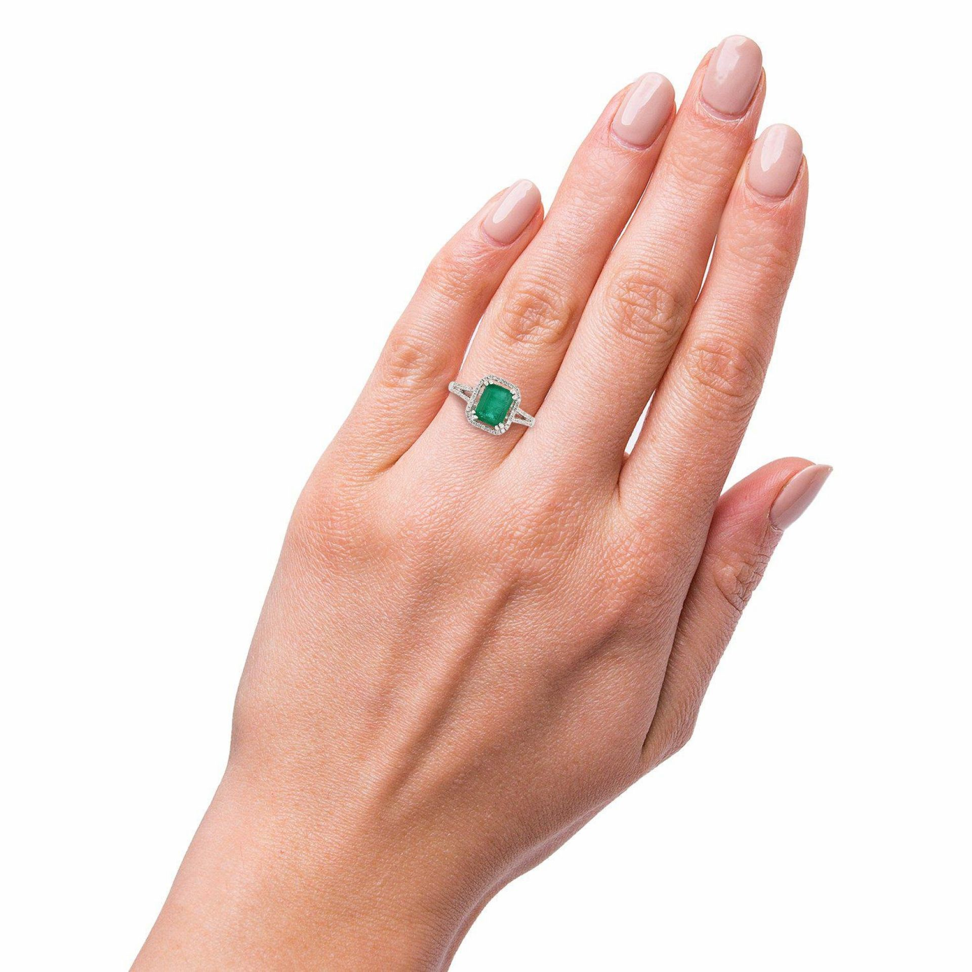 1.91ct Emerald and 0.45ctw Diamond 14KT White Gold Ring