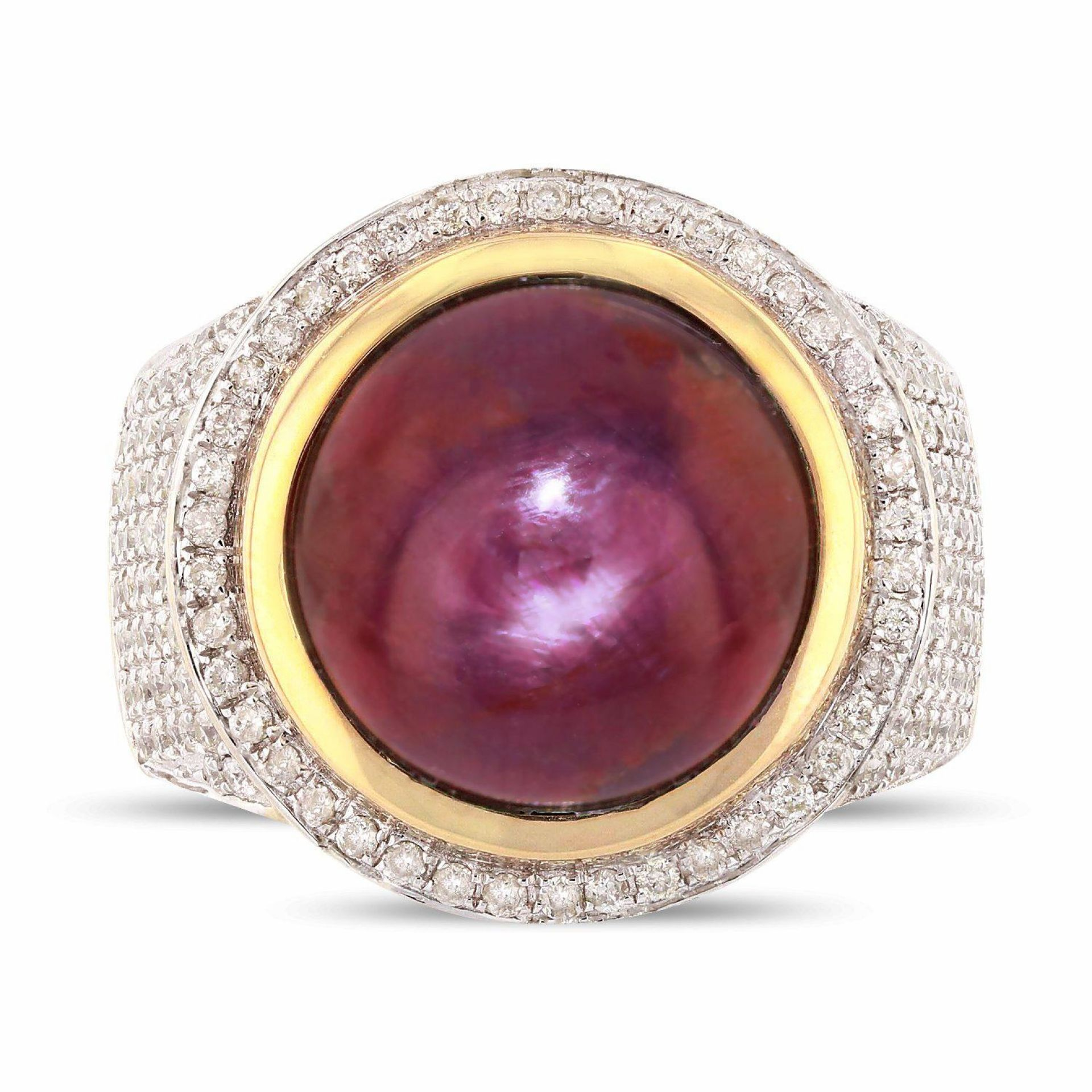 17.09ct UNHEATED NATURAL STAR Ruby and 1.09ctw Diamond 14K Yellow Gold Ring