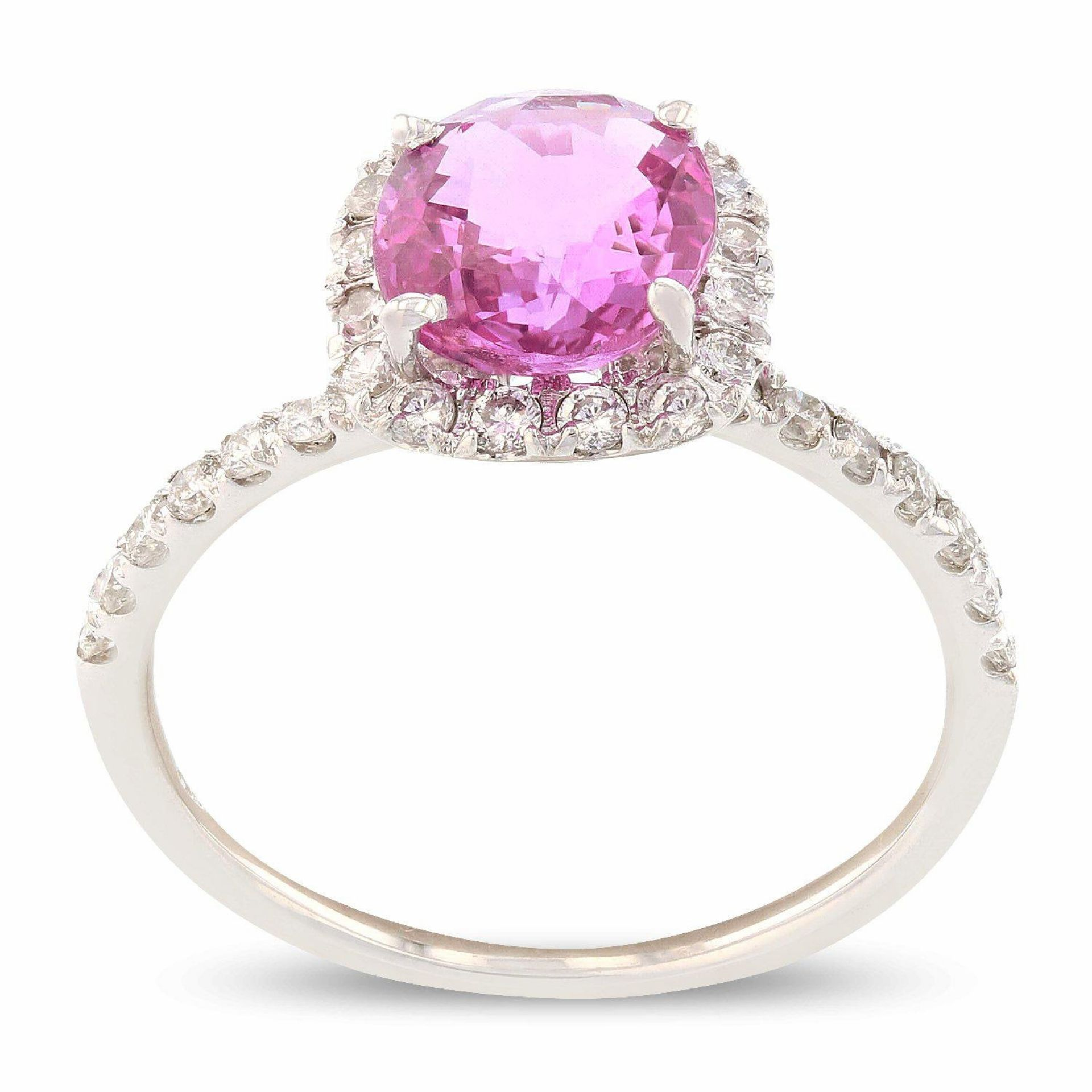 2.07ct RARE UNHEATED PINK Sapphire and 0.43ctw Diamond 14K White Gold Ring (GIA