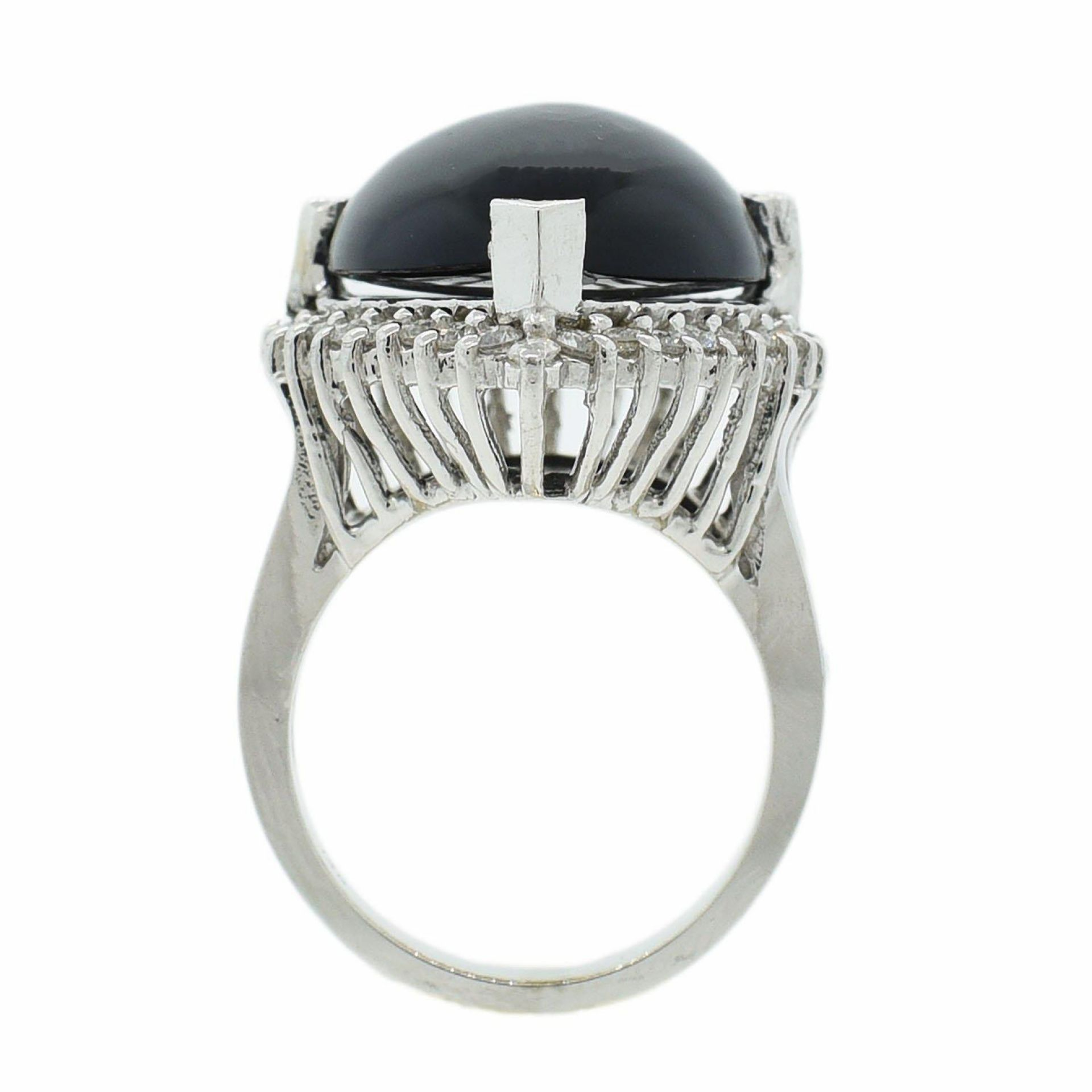9.59ct Opal and 0.77ctw Diamond 14K White Gold Ring