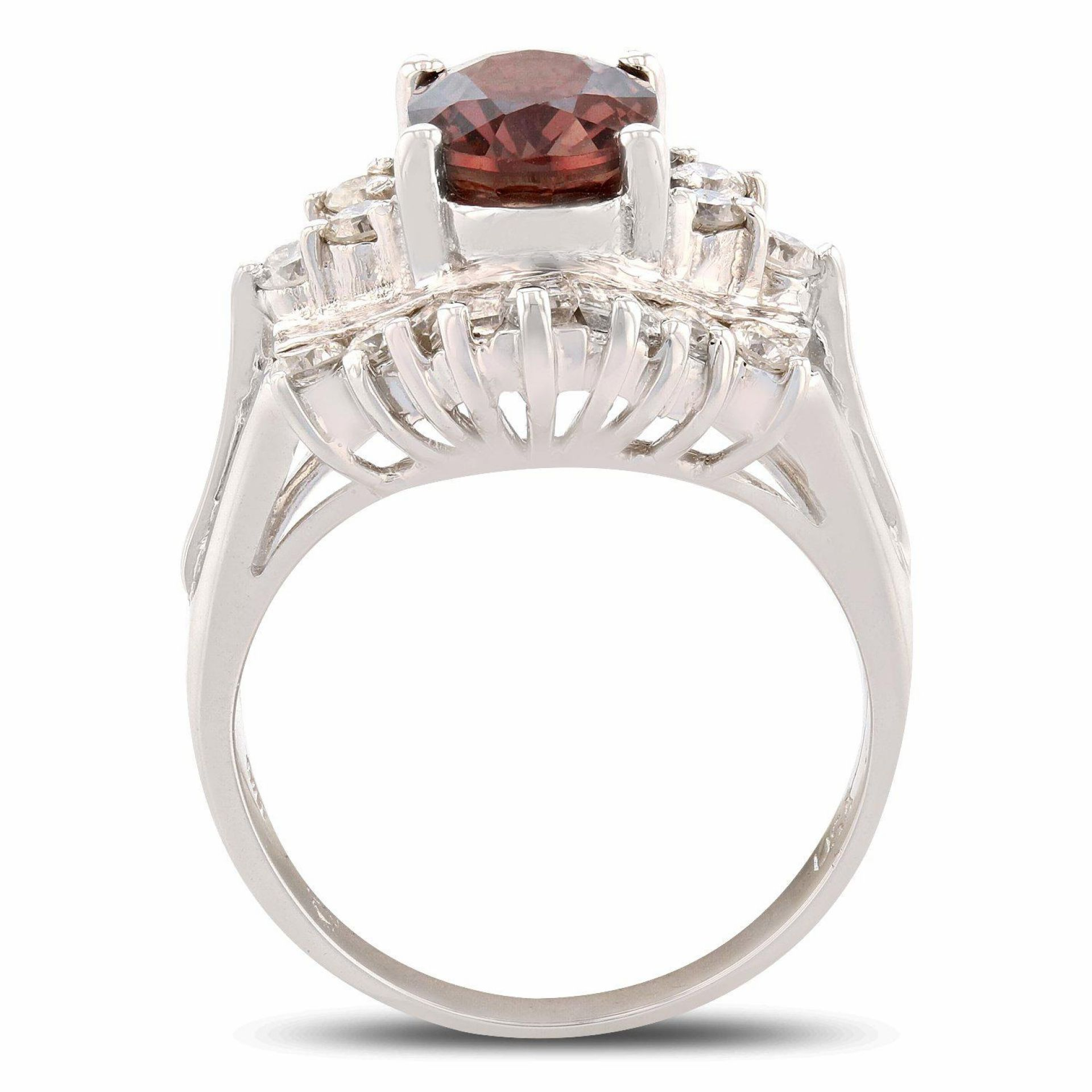 2.31ct RARE UNHEATED Red Sapphire and 1.17ctw Diamond 14K White Gold Ring
