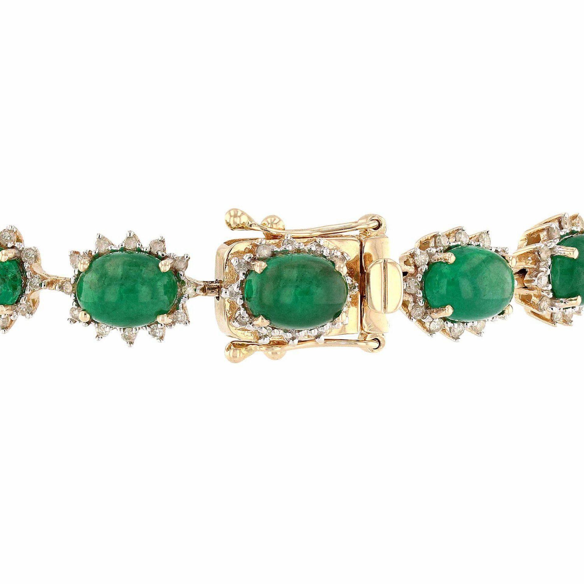 18.69ctw Emerald and 1.23ctw Diamond 14K Yellow Gold Bracelet