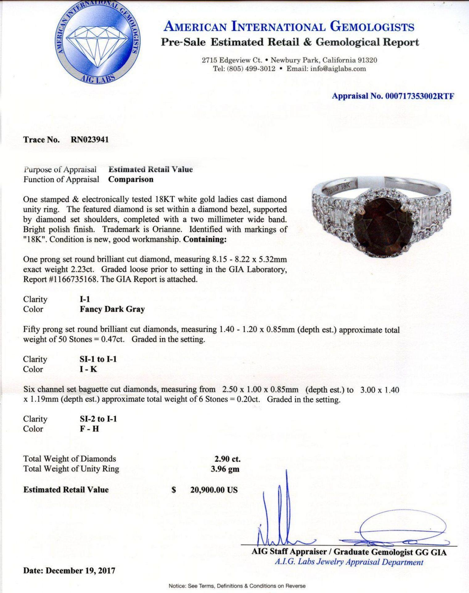 2.23ct Fancy Dark Gray CENTER Diamond 18K White Gold Ring (2.92ctw Diamonds) GIA