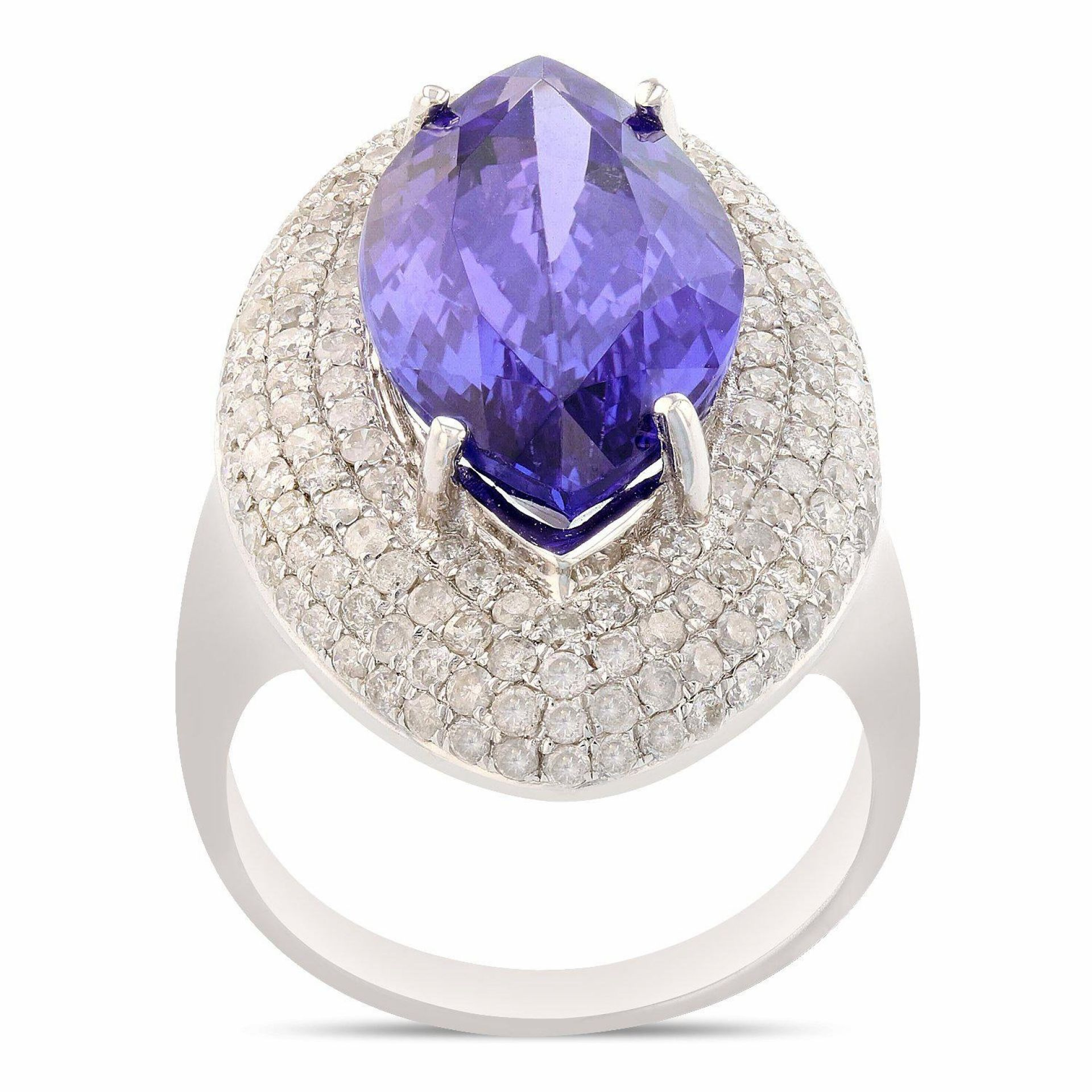 7.67ct Tanzanite and 1.59ctw Diamond 14K White Gold Ring (GIA CERTIFIED)
