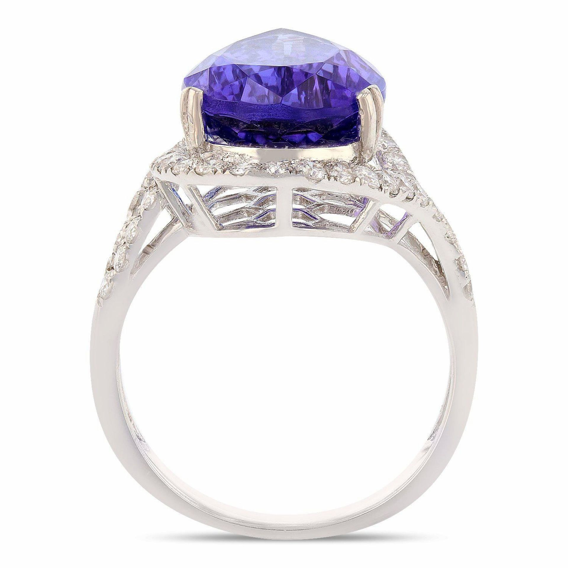9.41ct Tanzanite and 0.81ctw Diamond Platinum Ring