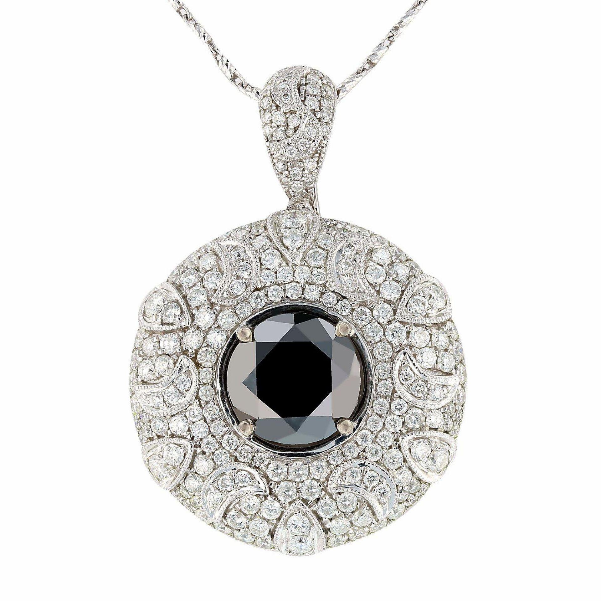 6.51ct Black and 3.41ctw White Diamond 14K White Gold Pendant/Necklace (EGL CERT