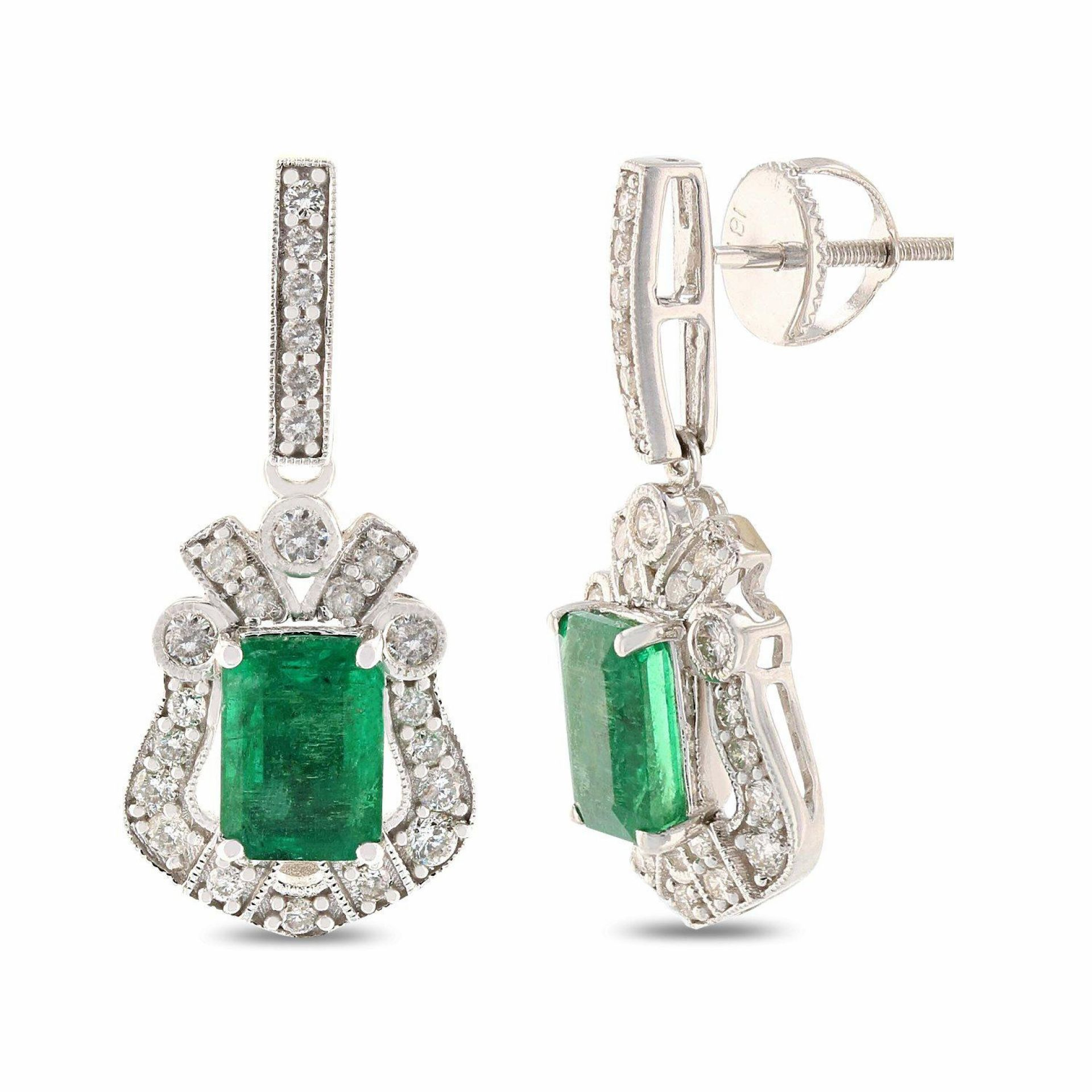 1.83ctw Emerald and 0.65ctw Diamond 18K White Gold Earrings