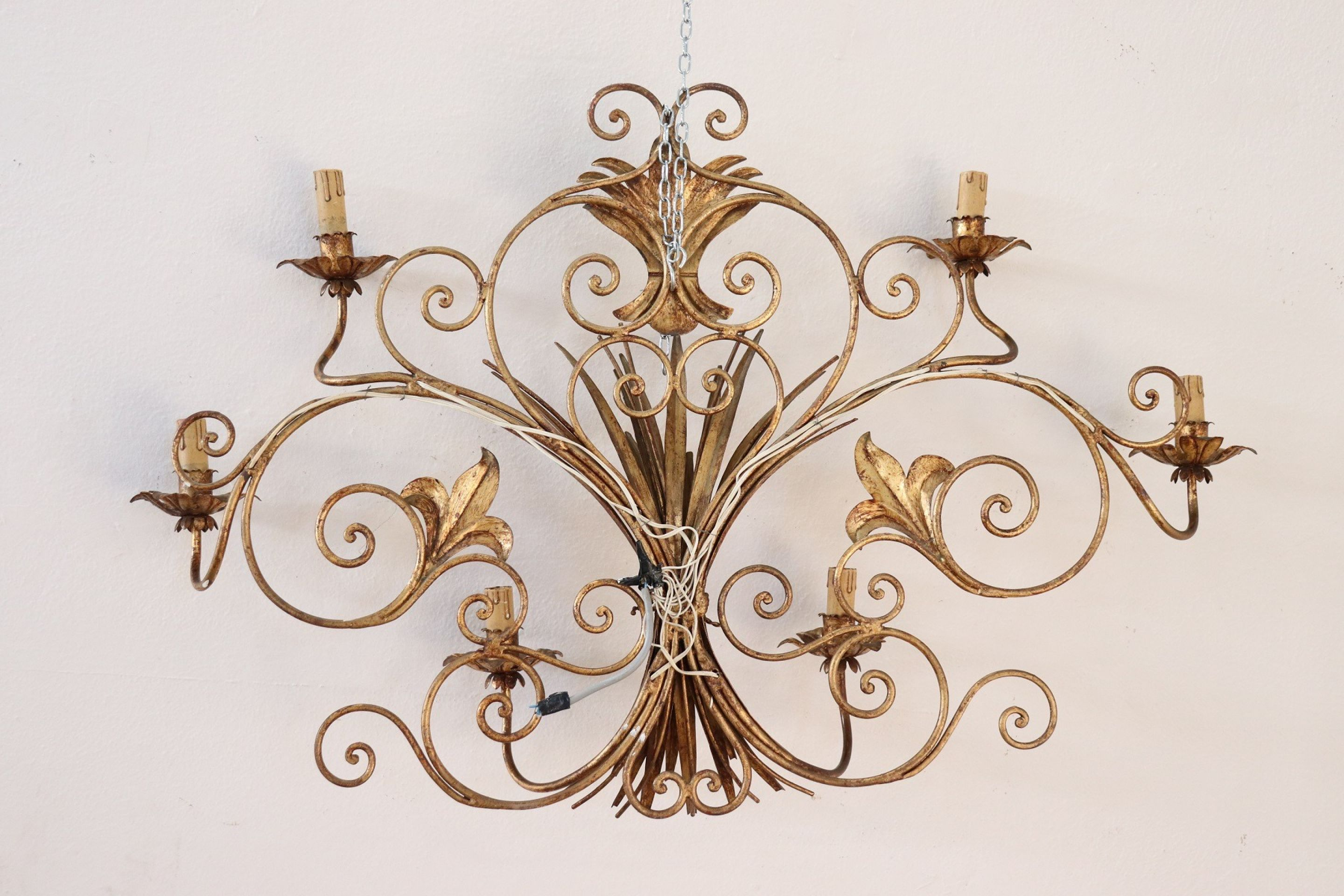 20th Century Italian Forged and Golden Iron Wall Light or Sconces