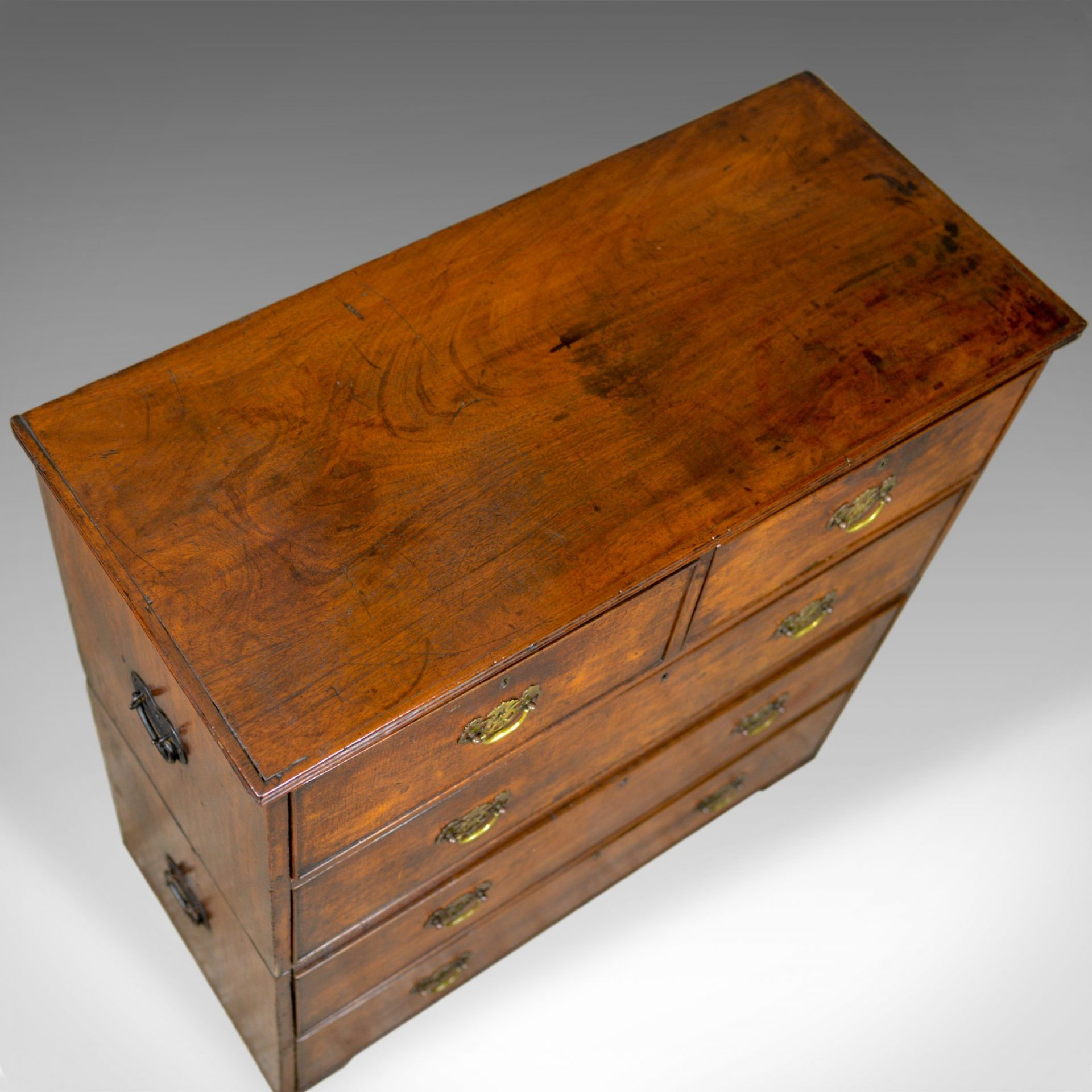 Antique Campaign Chest of Drawers, English, Late Georgian, Walnut, Circa 1780
