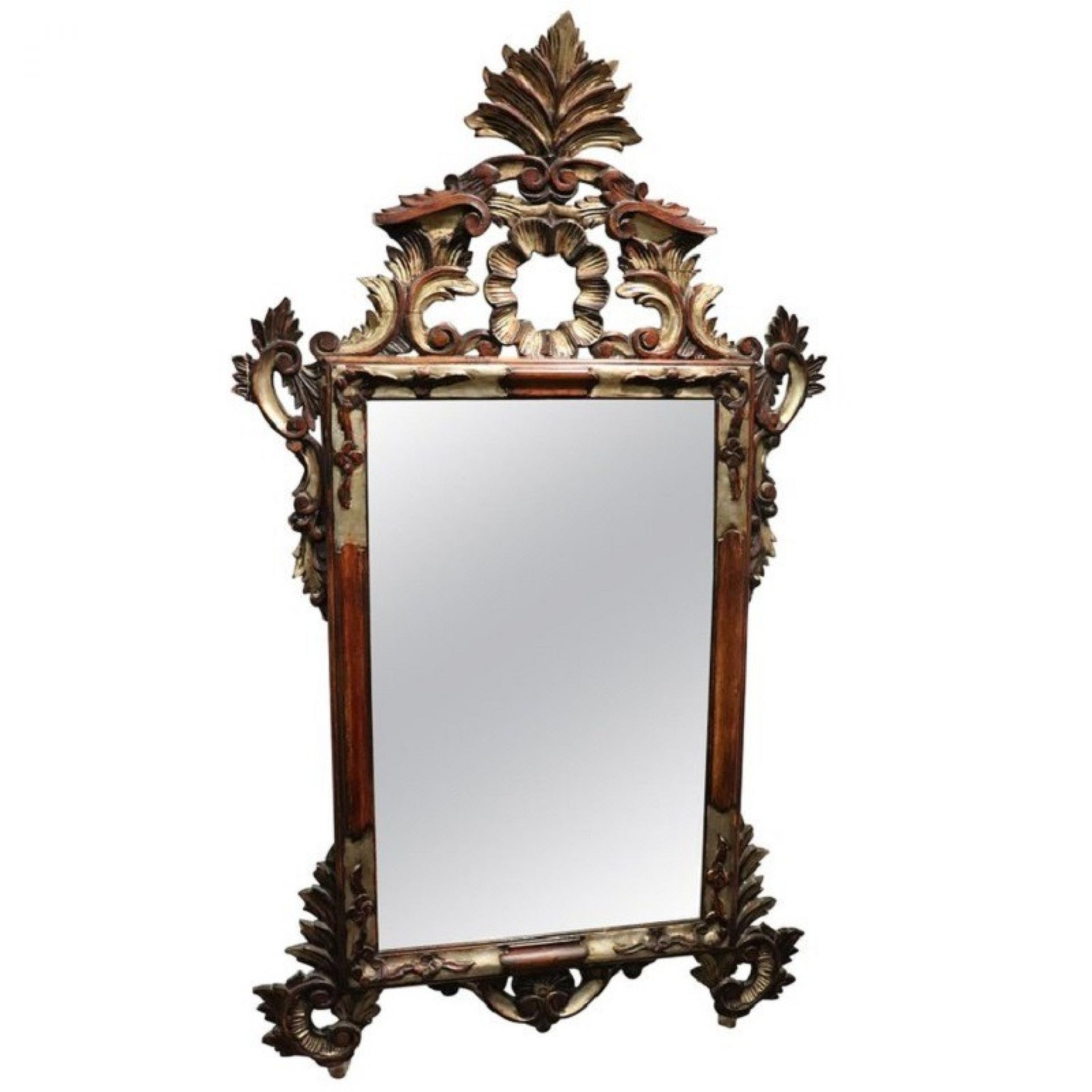 20th Century Italian Louis XV Style Silvered Wood Wall Mirror