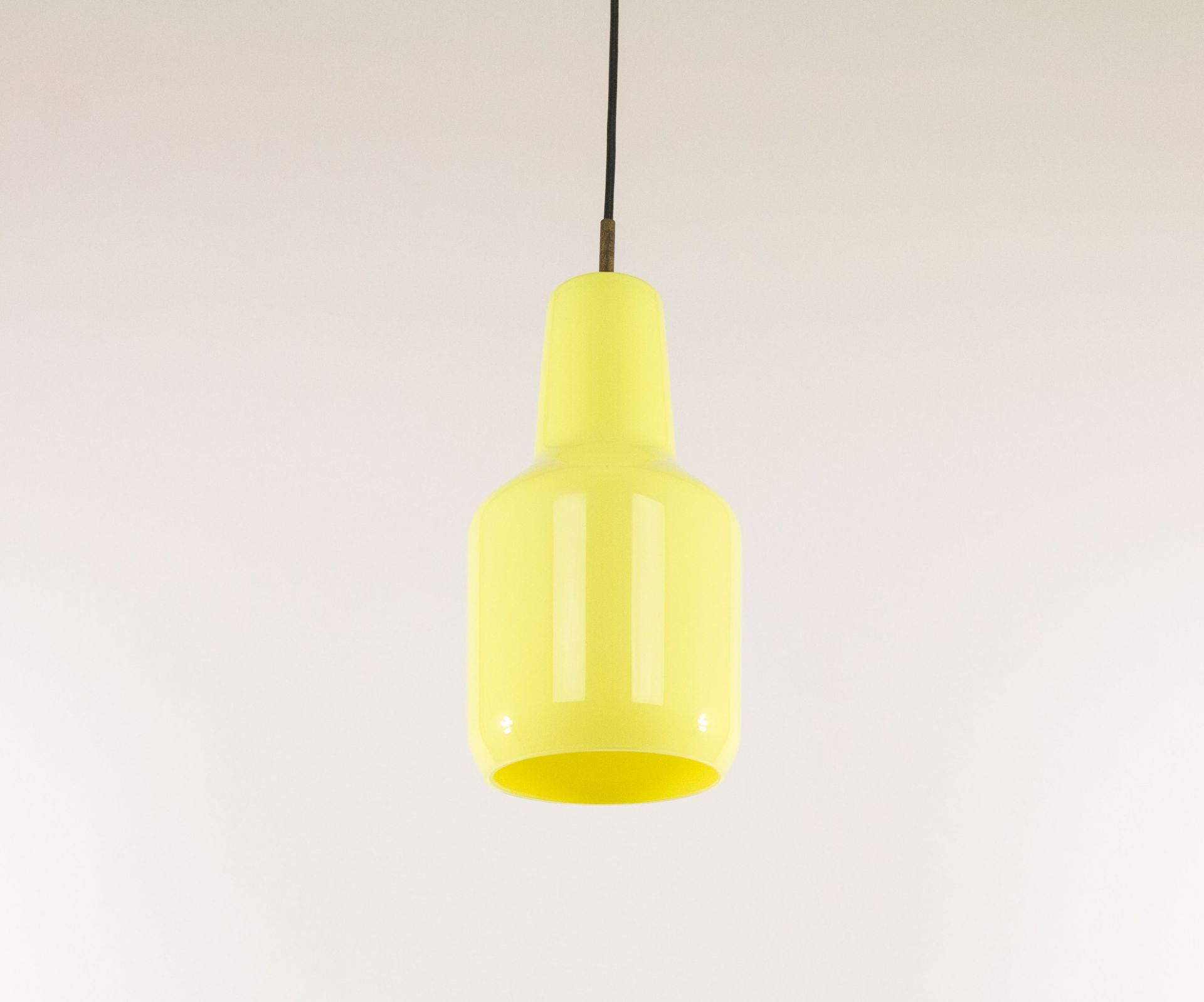Yellow Murano glass pendant by Massimo Vignelli for Venini, 1950s