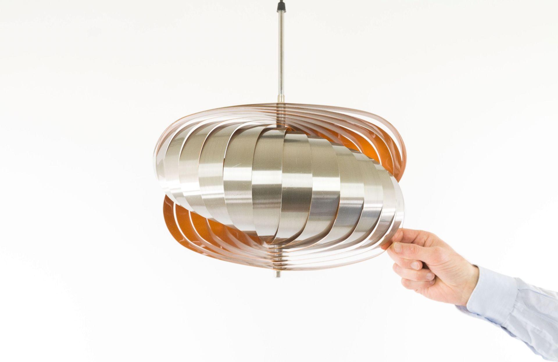 Aluminium pendant designed by Henri Mathieu in orange, 1970s