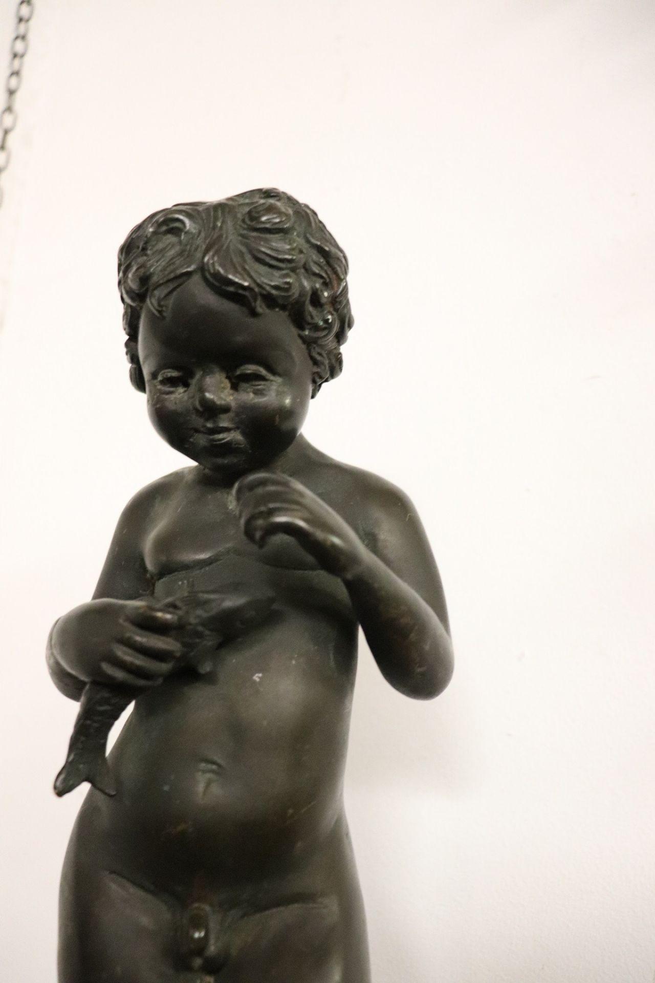 20th Century Italian Sculpture in Bronze Child with Fish