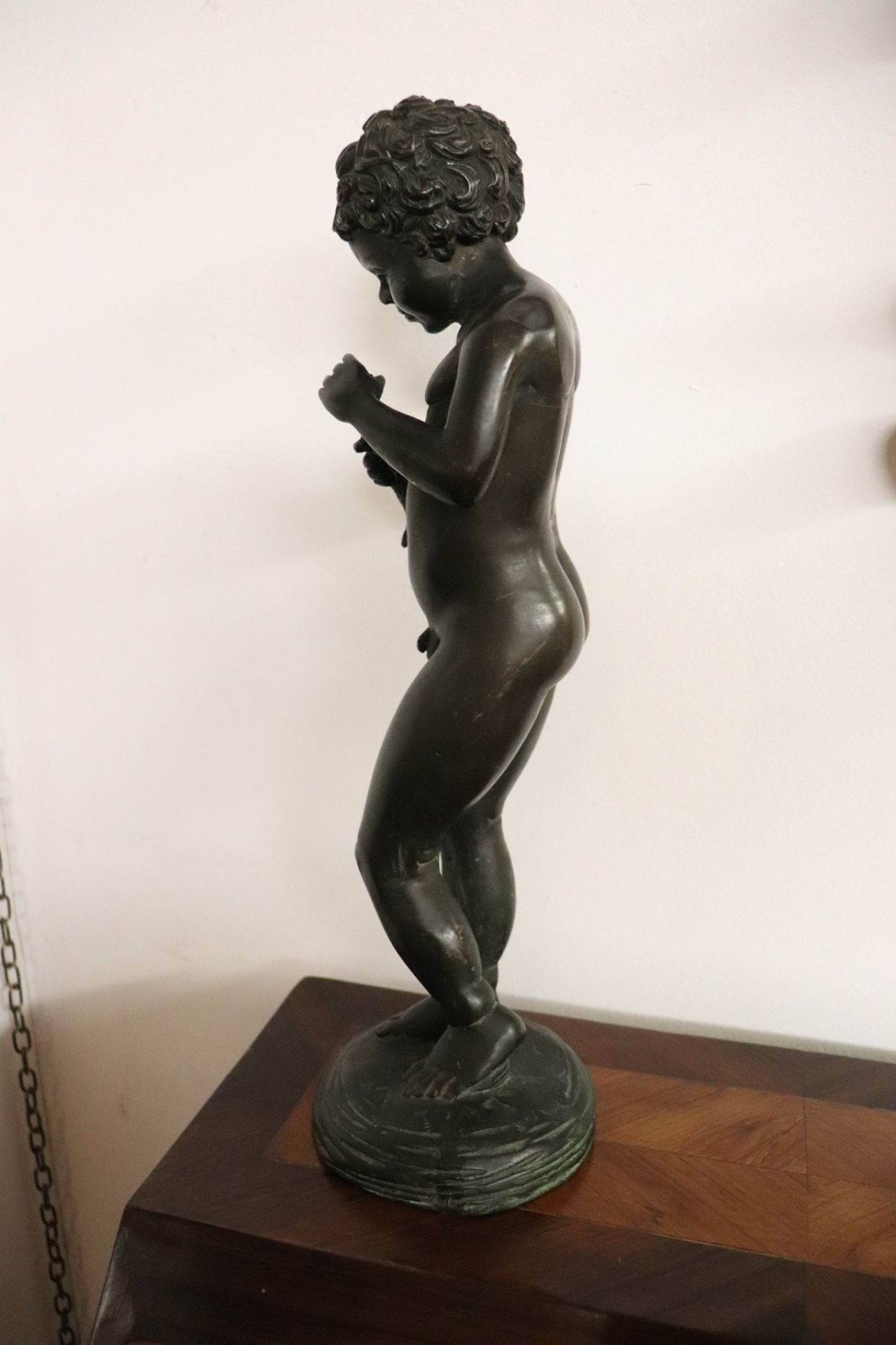 20th Century Italian Sculpture in Bronze Child with Fish