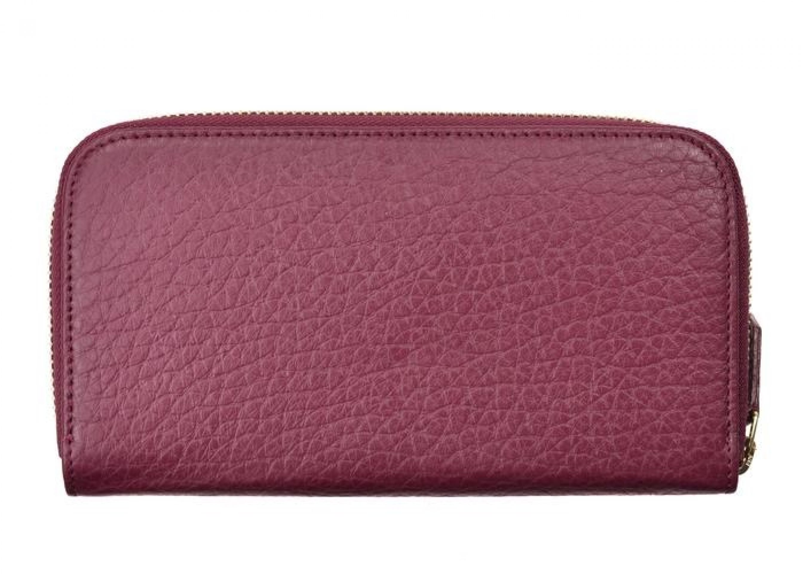 VERSACE COLLECTION BURGUNDY GRAINED LEATHER ZIP CONTINENTAL WALLET