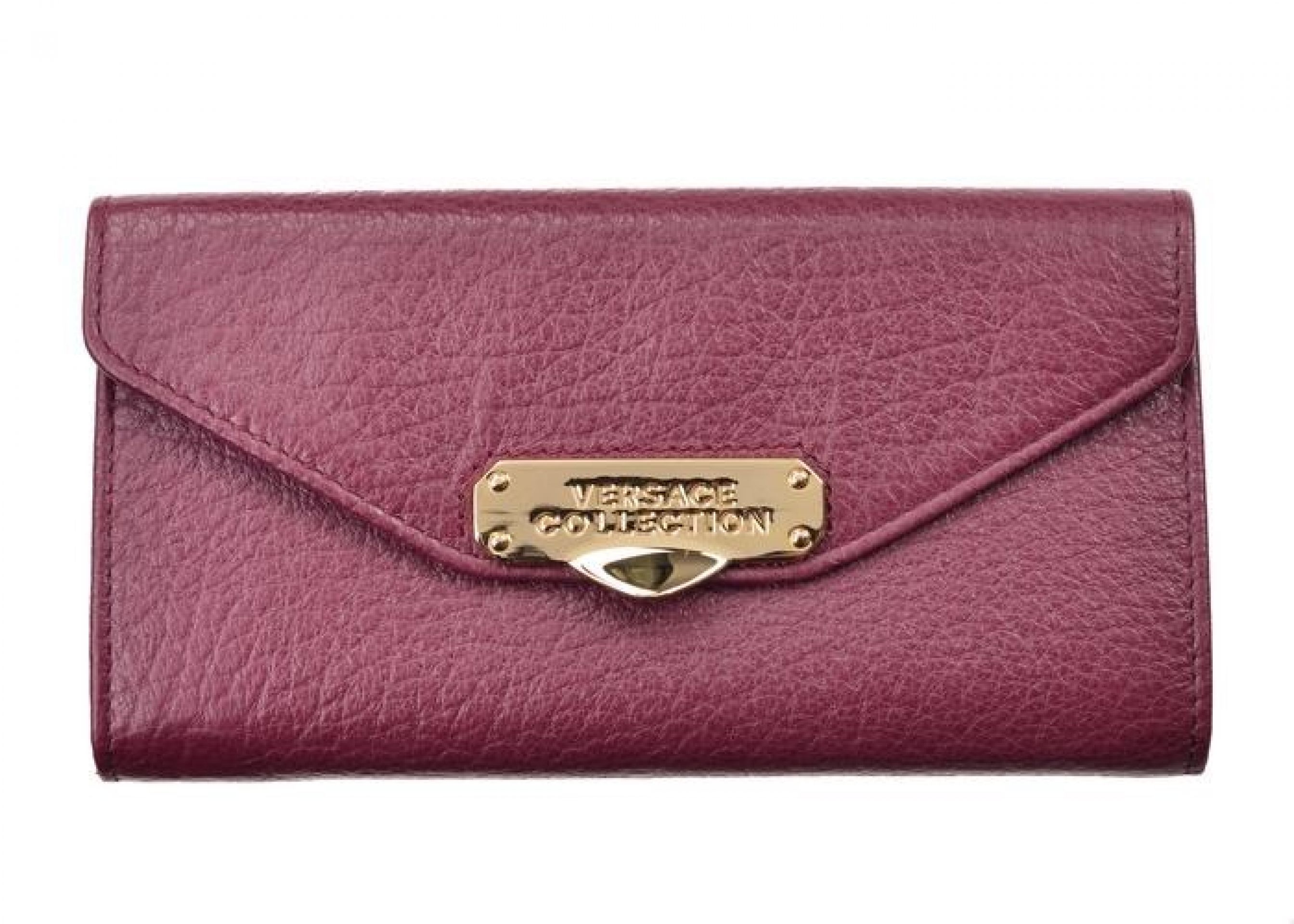 VERSACE COLLECTION SOLID BURGUNDY GRAINED LEATHER CONTINENTAL WALLET