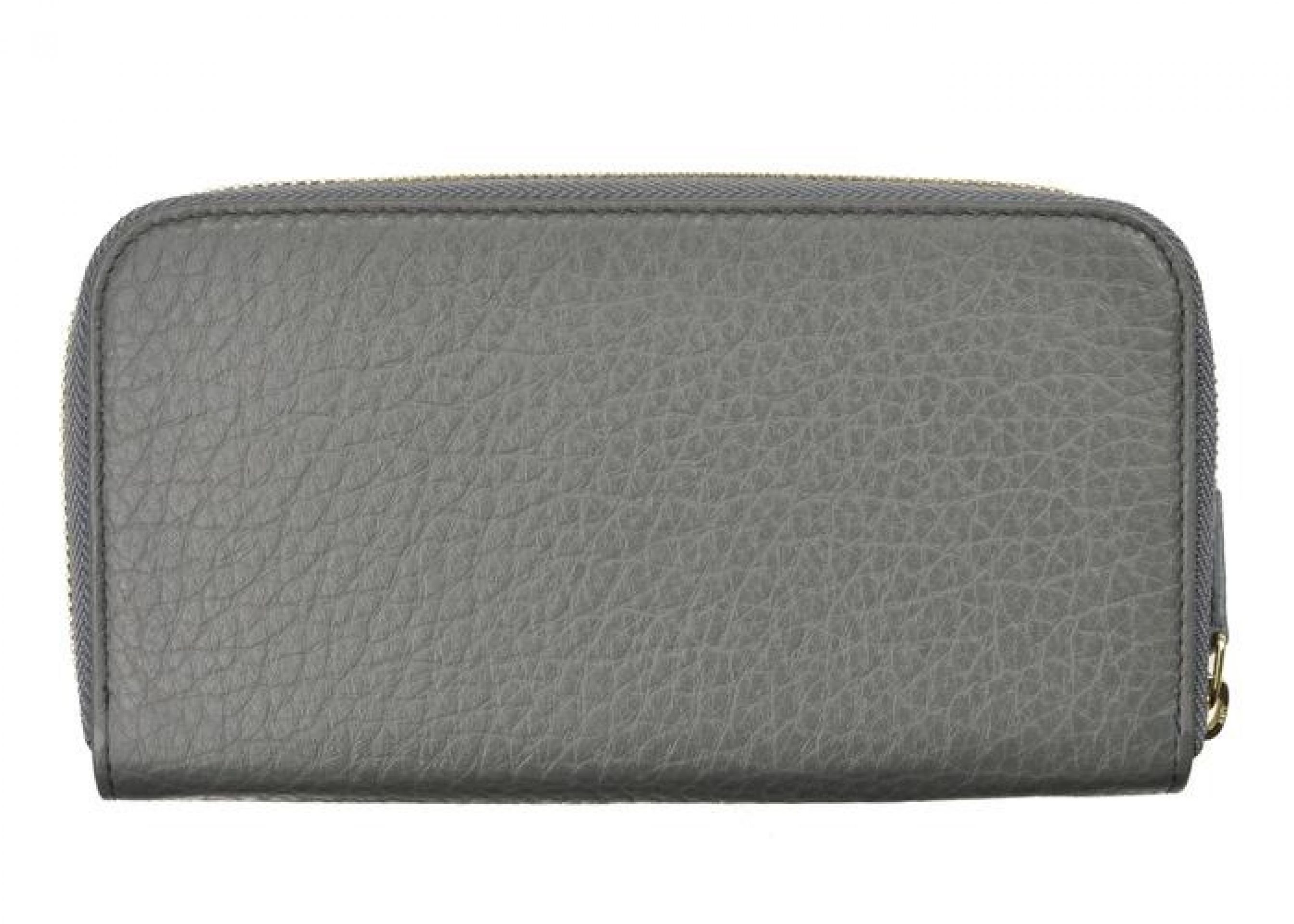 VERSACE COLLECTION GRAY GRAINED LEATHER ZIP AROUND CONTINENTAL WALLET