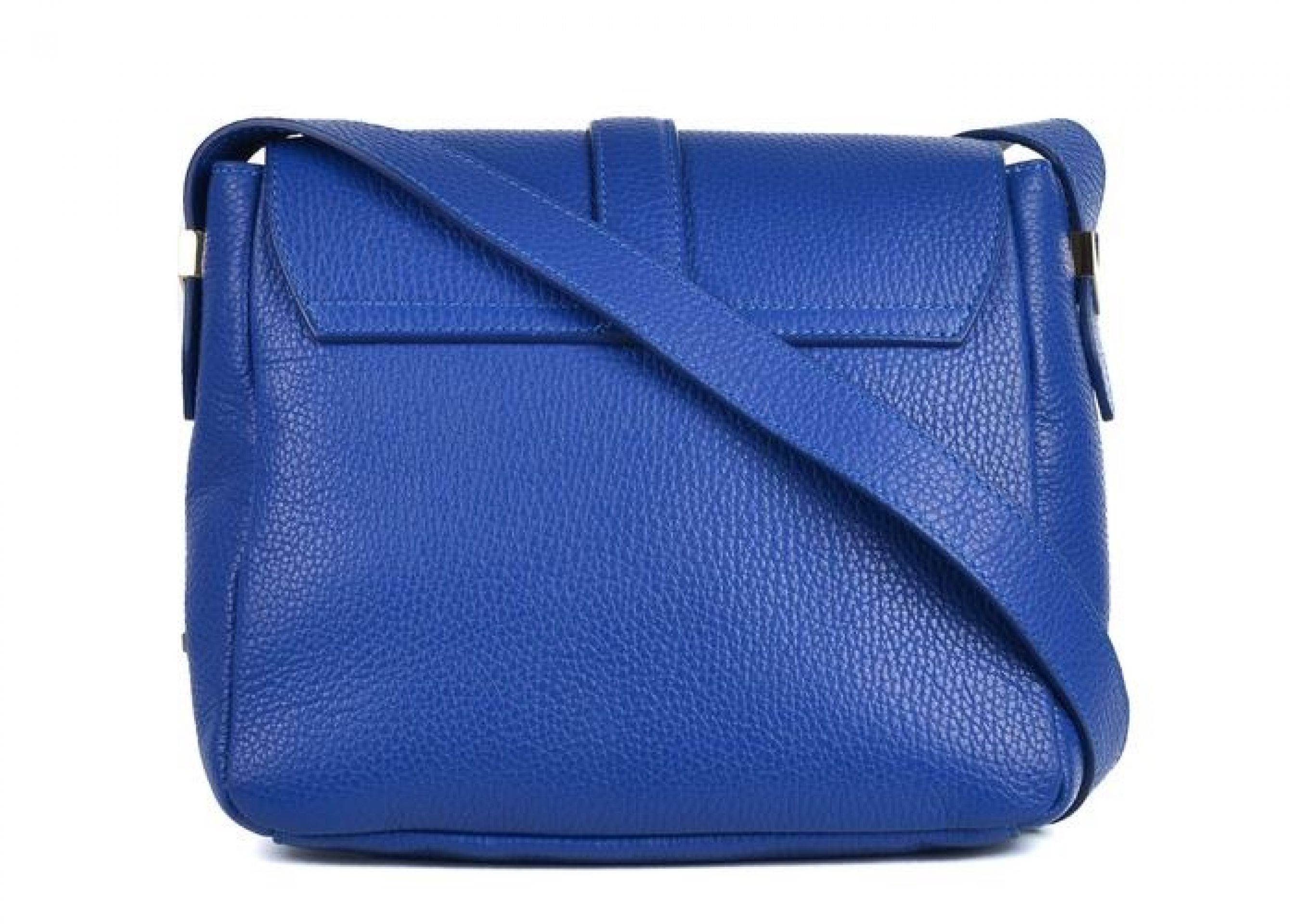 VERSACE COLLECTION SOLID BLUE GRAINED LEATHER ARROW SHOULDER BAG