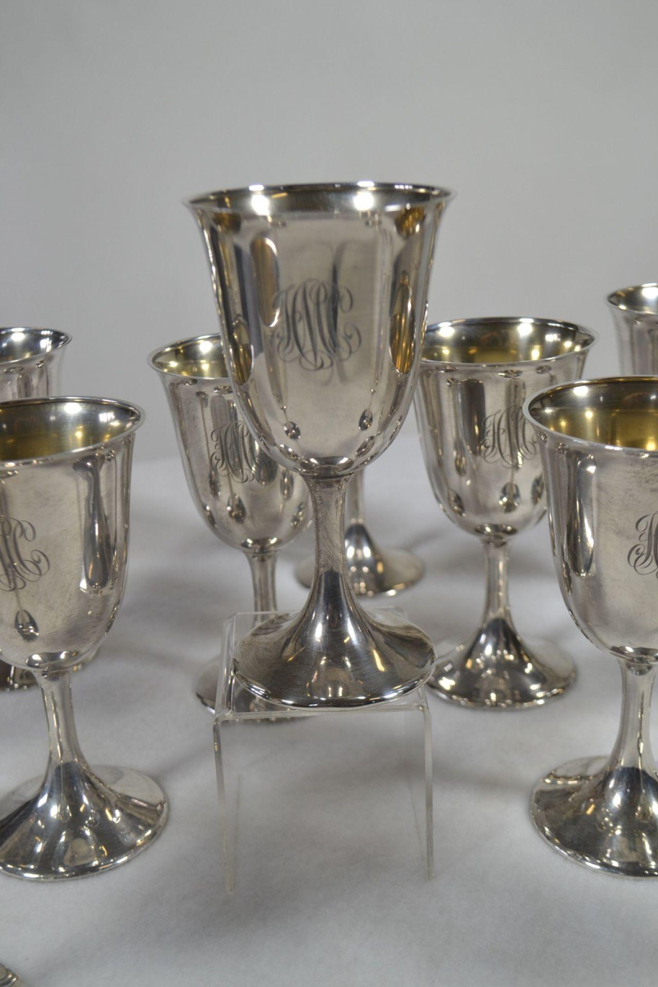 Set of 12 Sterling Silver Goblets