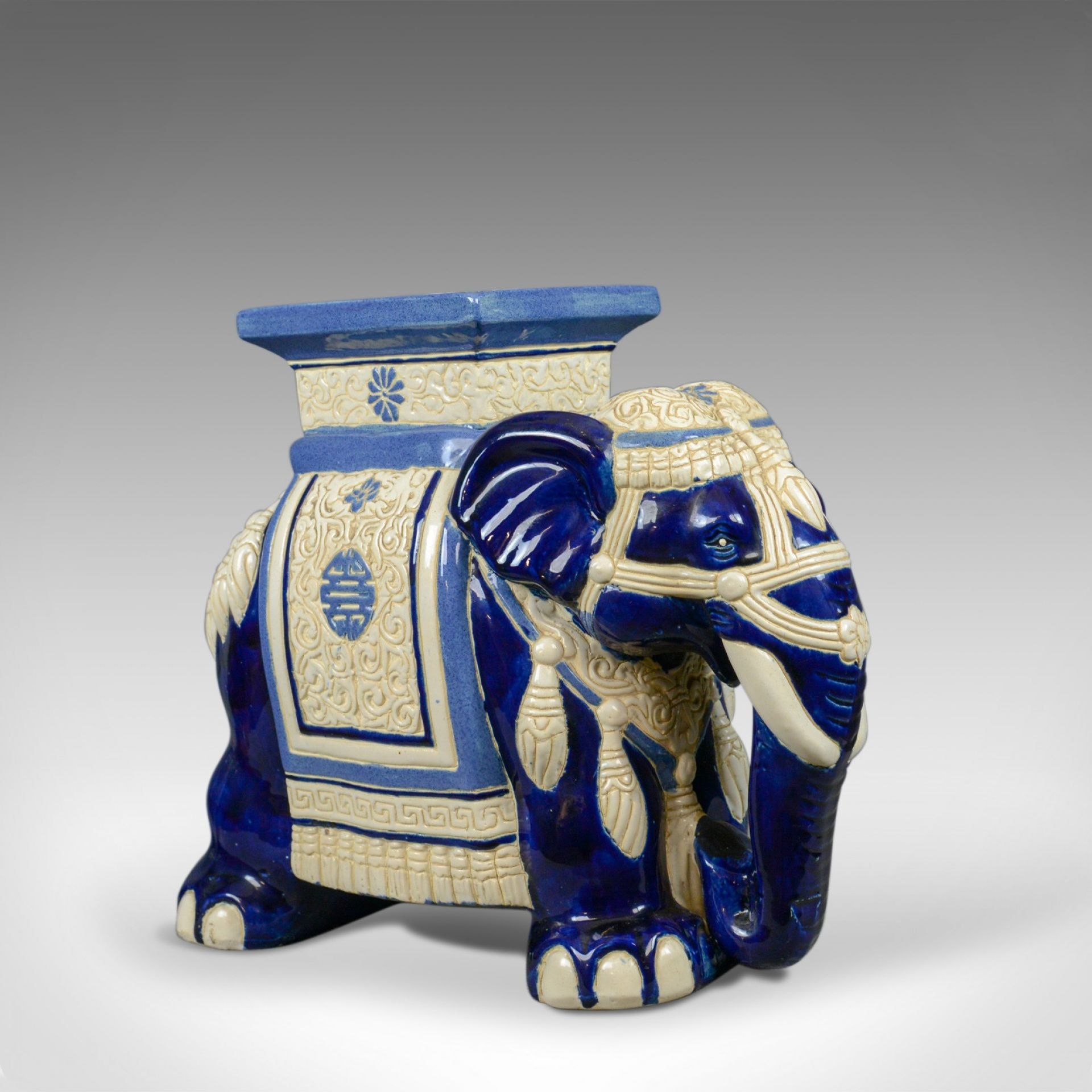 Ceramic Elephant Plant Stand, Garden Companion Table, Mid-Late 20th Century