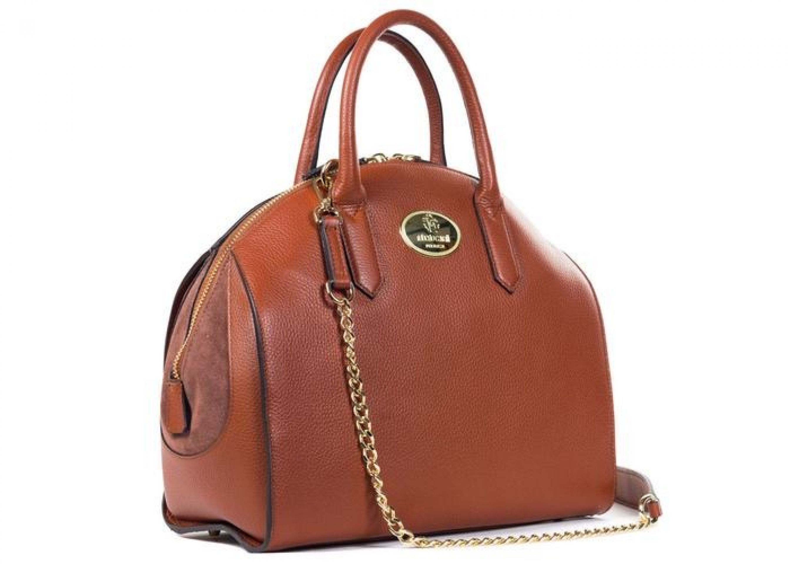 ROBERTO CAVALLI WOMENS TAN GRAINED LEATHER BOWLER HANDBAG
