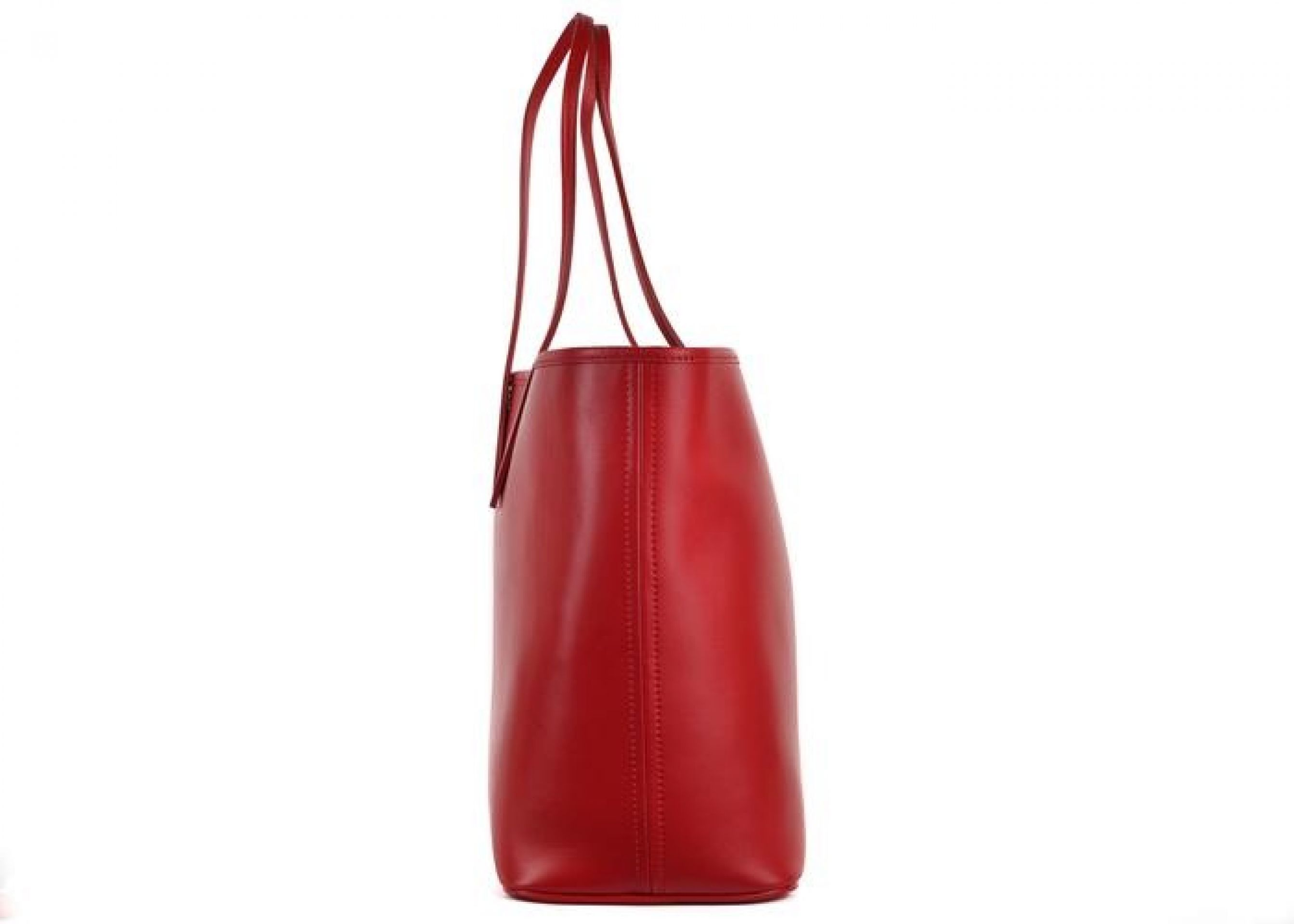 ROBERTO CAVALLI FIRENZE RED LARGE LEATHER SHOPPING TOTE BAG