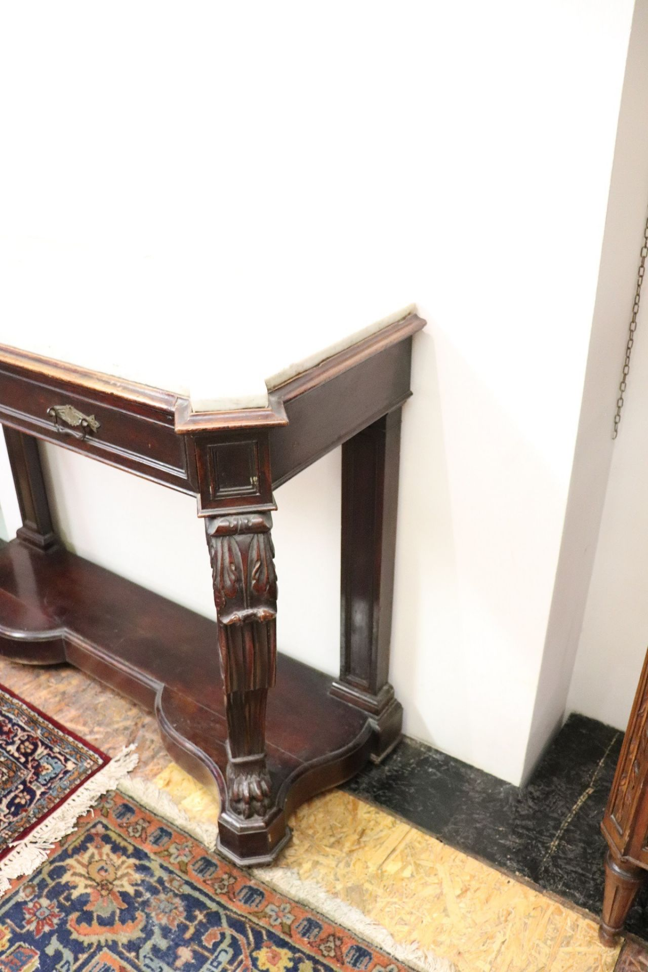 19th Century Italian Charles X Carved Walnut Wood Console Table with Marble Top