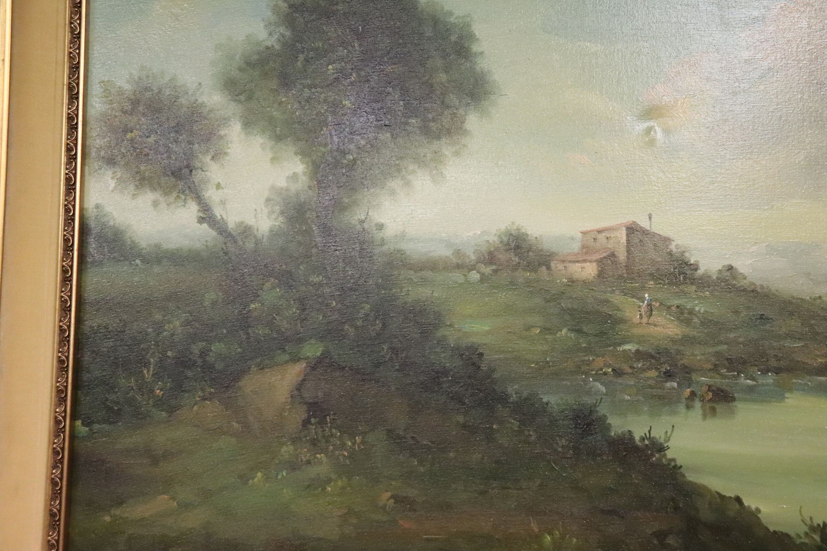 20th Century Italian Oil Painting on Canvas Landscape with Golden Frame
