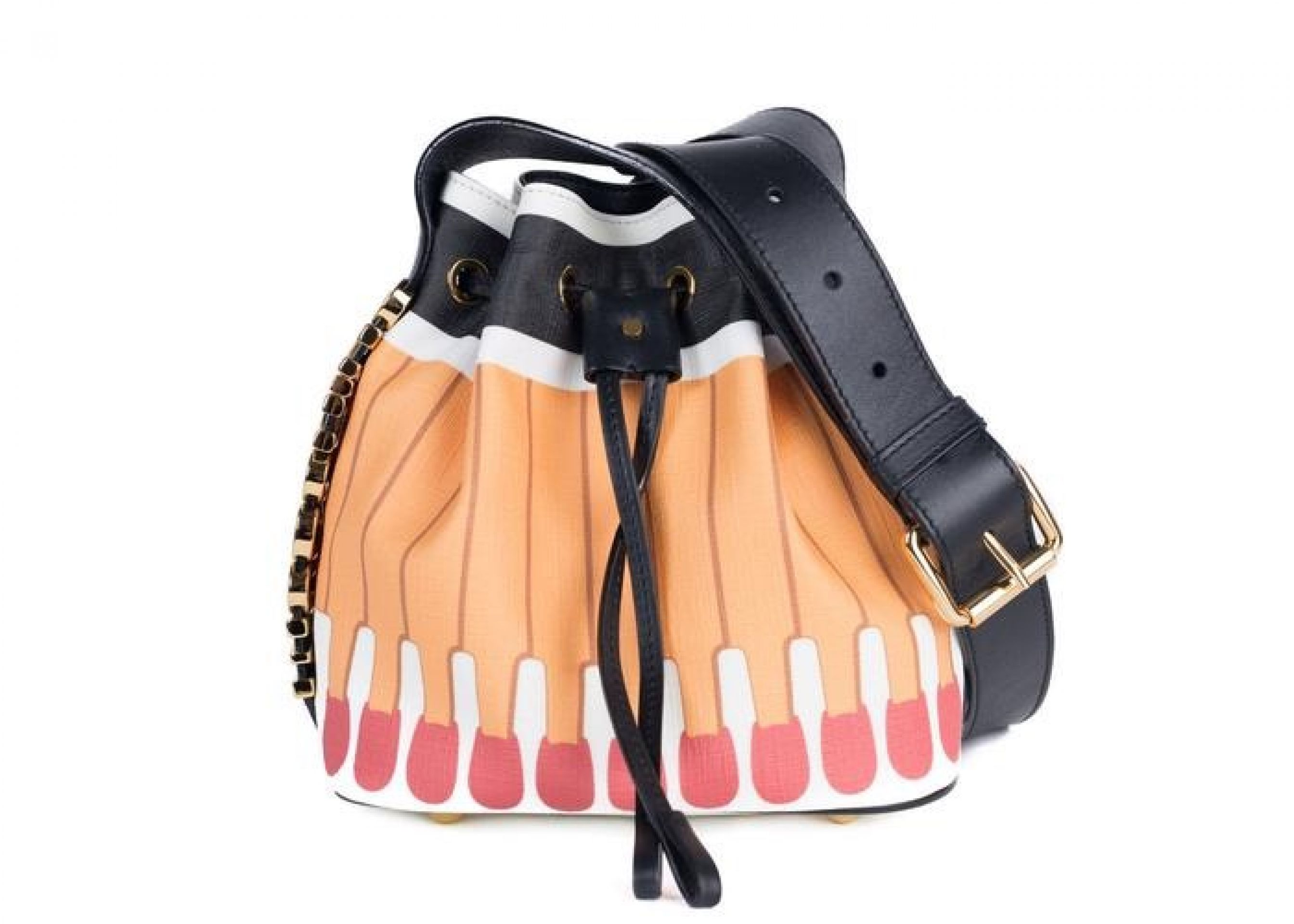 Moschino Orange 'It's Lit Matchbook' PVC Bucket Cross-body Bag