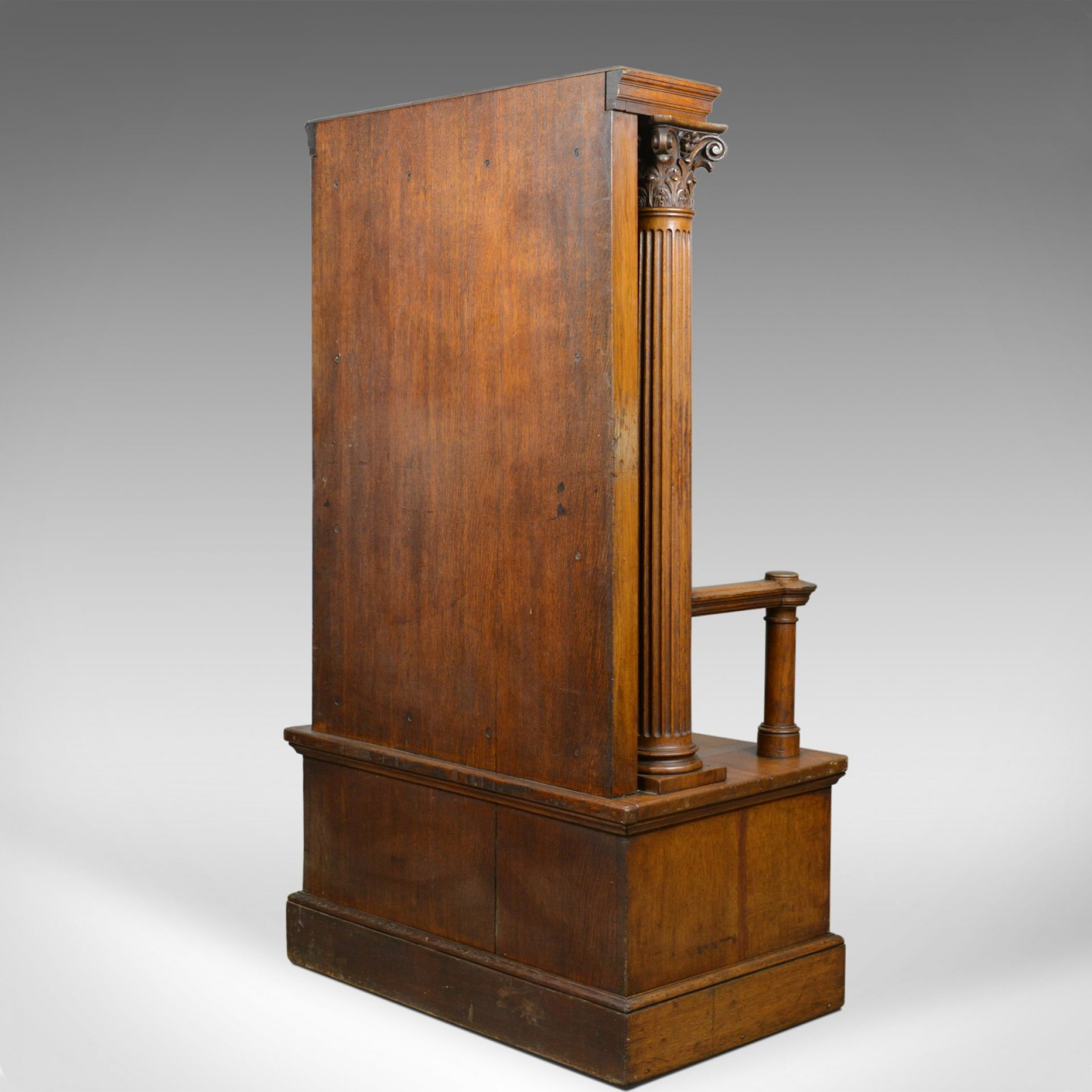 Large Antique Oak Throne Chair, Edwardian, Seat, Classical, Corinthian, c.1910