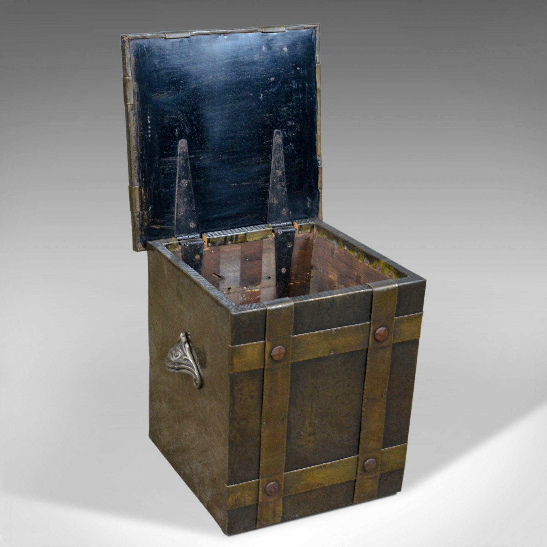 Antique Log Bin, Edwardian, Bound Metal, Fireside Box, Arts and Crafts, c.1910