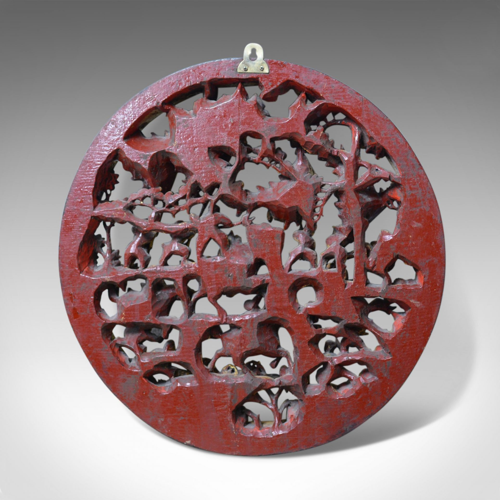 Antique Carved Wall Panel, Circular, Chinese, Giltwood, Decorative, Circa 1900