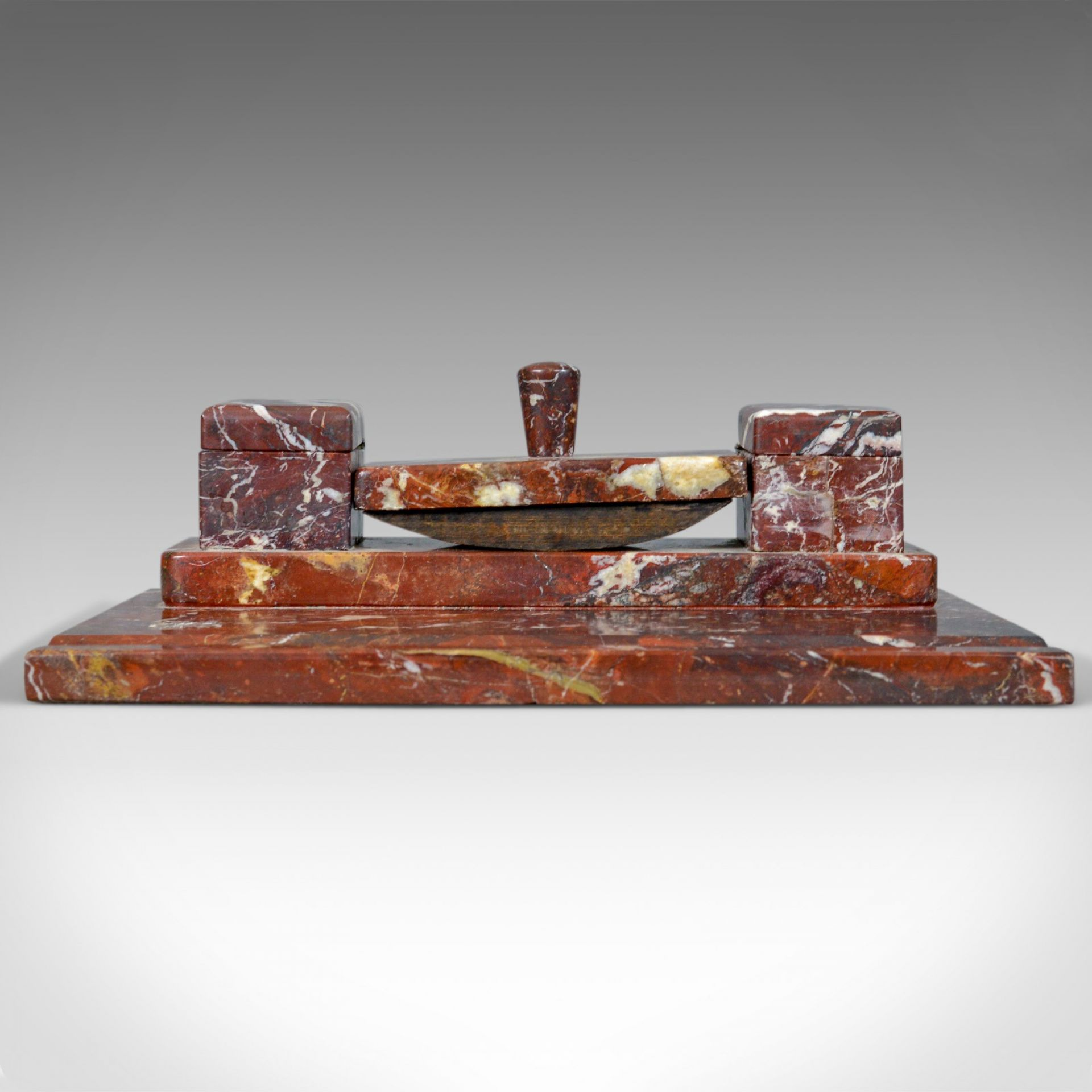 French Antique, Art Deco, Marble Desk Stand, Large, Inkwell, Blotter, c.1930