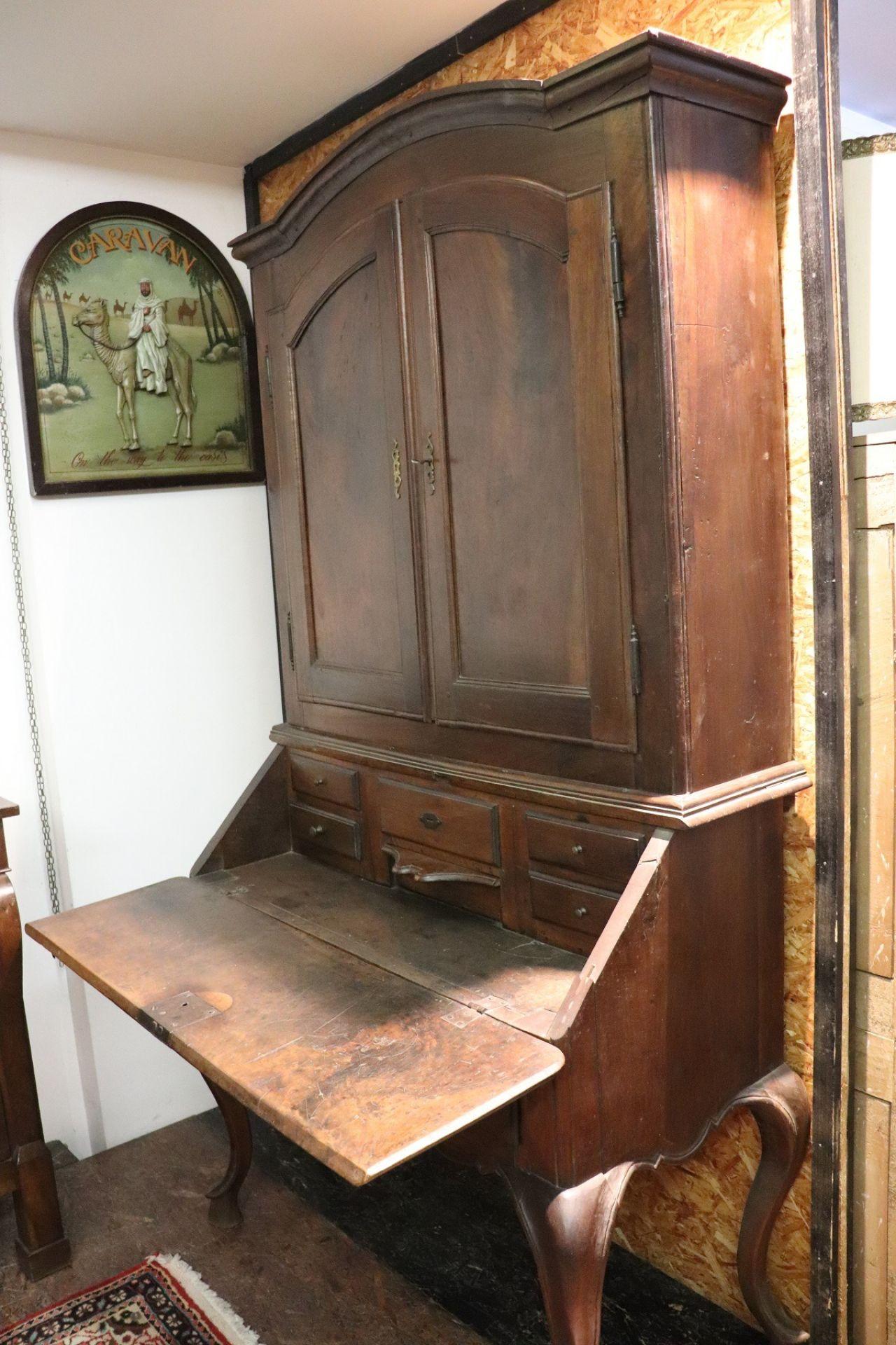 18th Century Italian Antique Louis XV Walnut Carved Trumeau, Secretaire