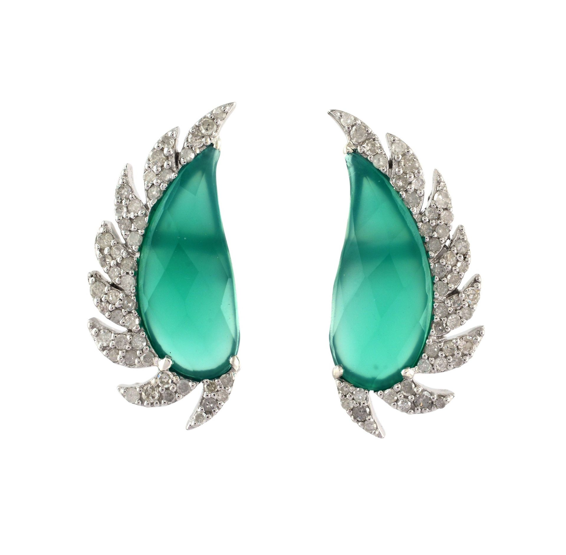 Meghna Jewels Claw Half Moon Studs Green Onyx & Diamonds
