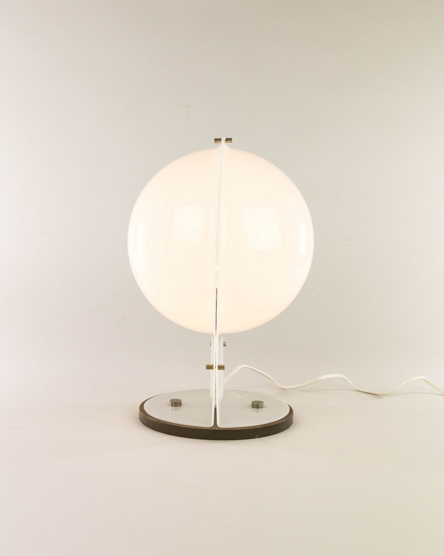 White table lamp made of two molded plastic half-spheres, 1970s