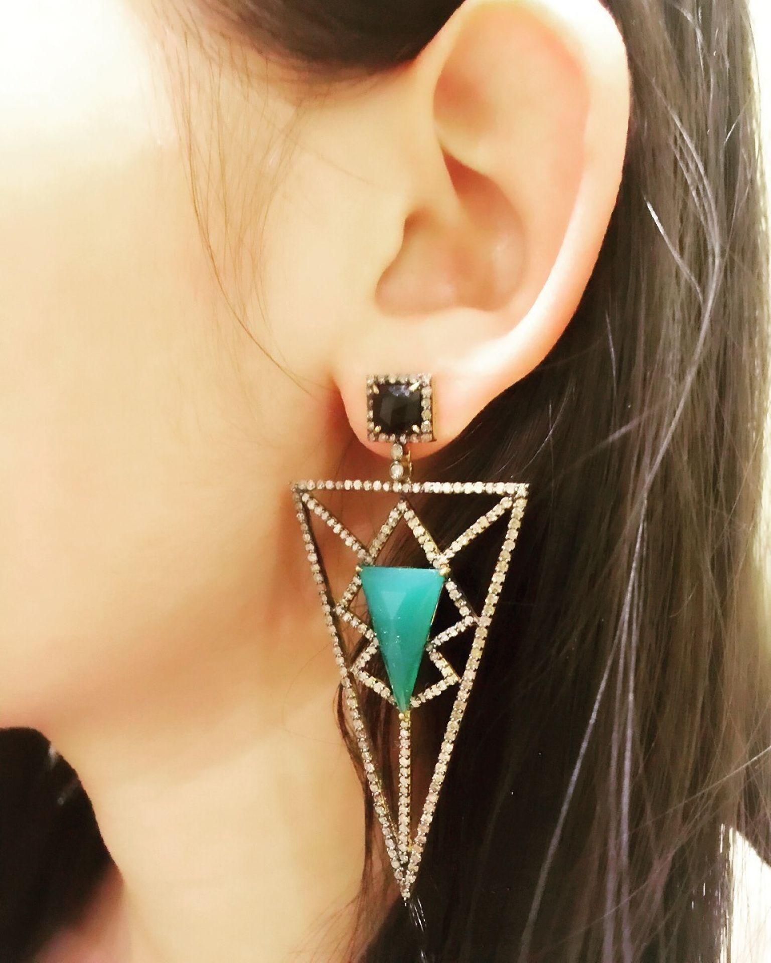 Meghna Jewels Pyramid Earring - Green Onyx and Diamonds