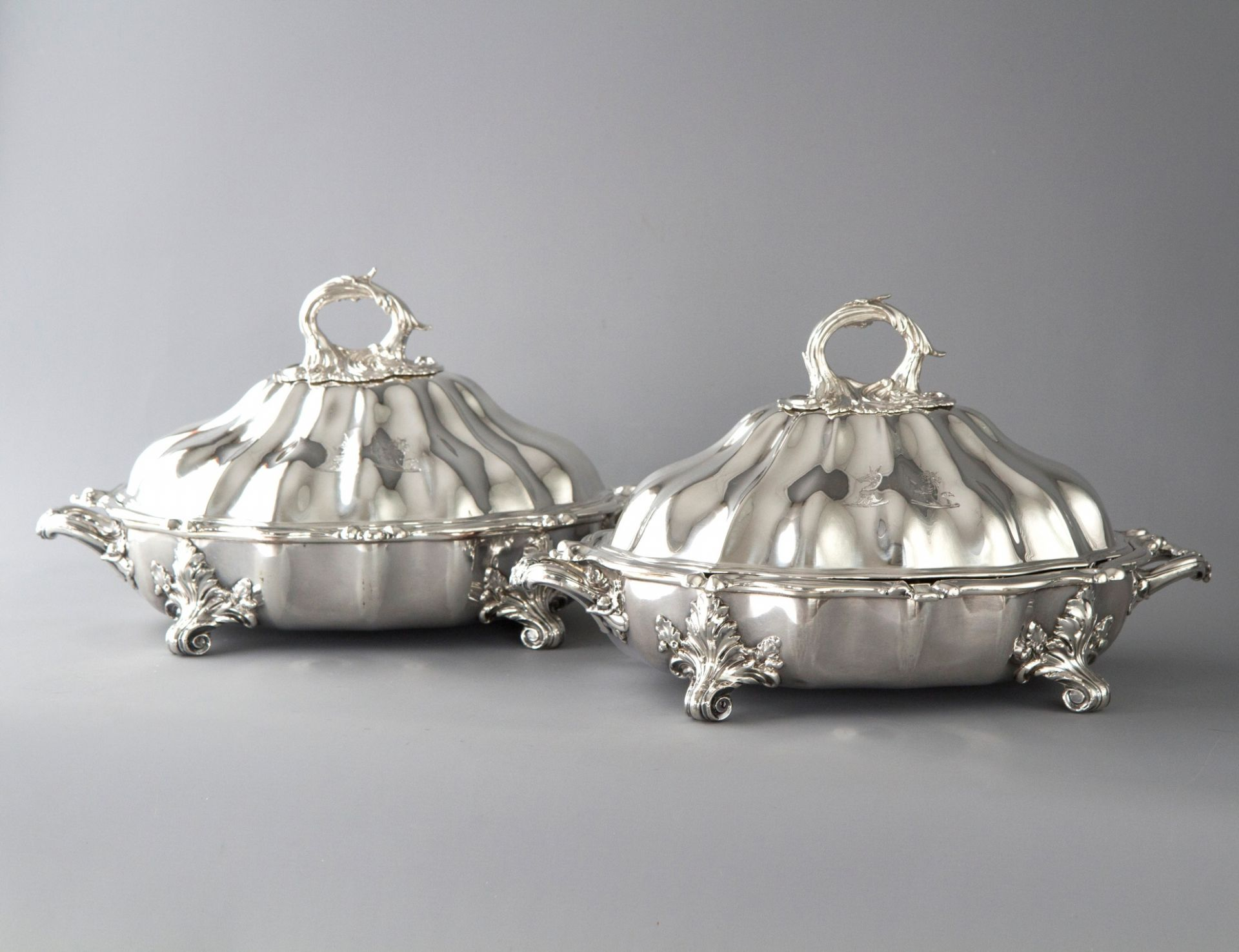 An Outstanding Pair of Silver Vegetable Tureens or Entree Dishes
