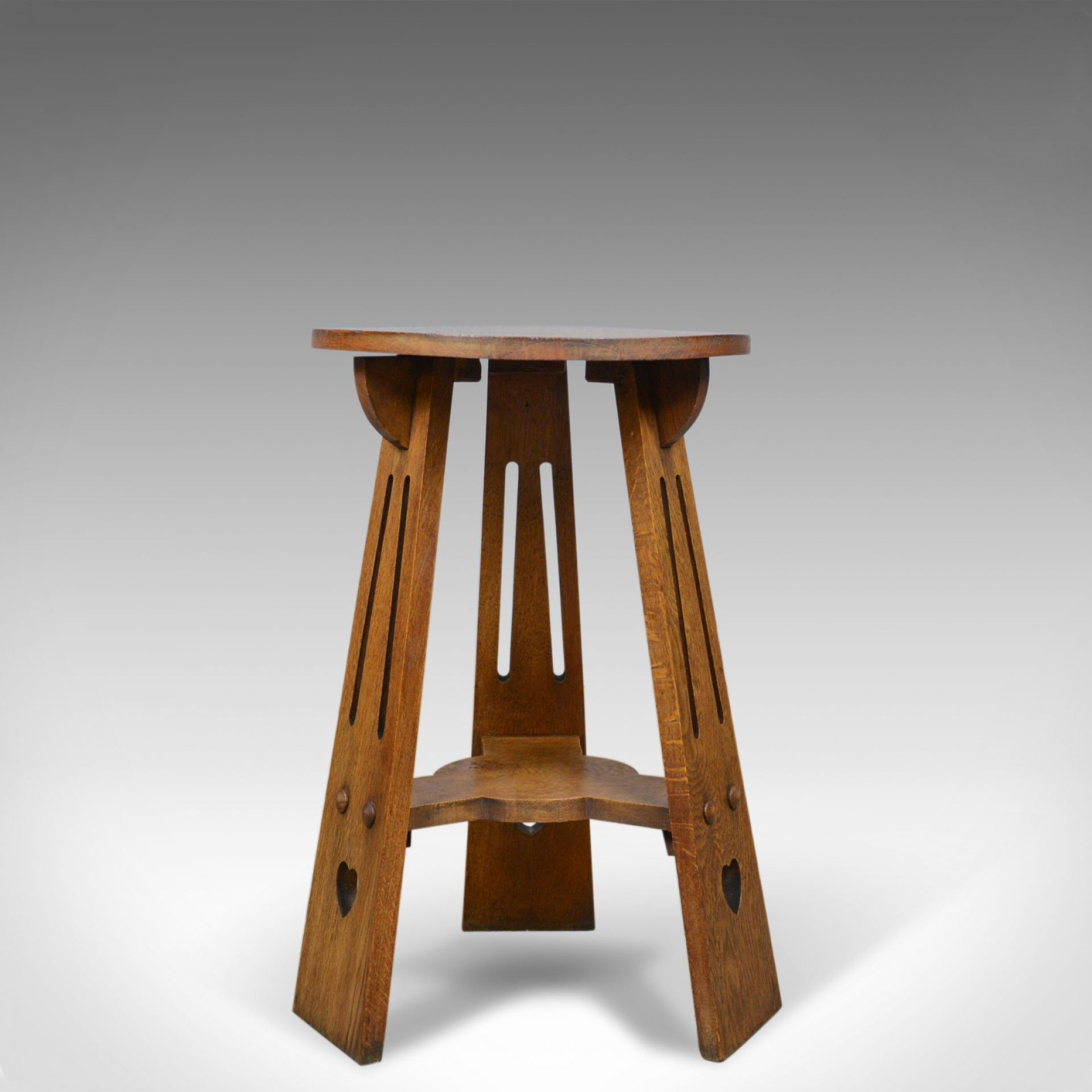 Arts and Crafts Side Table, English, Antique, Liberty-Esque, Oak, Tripod  c.1900