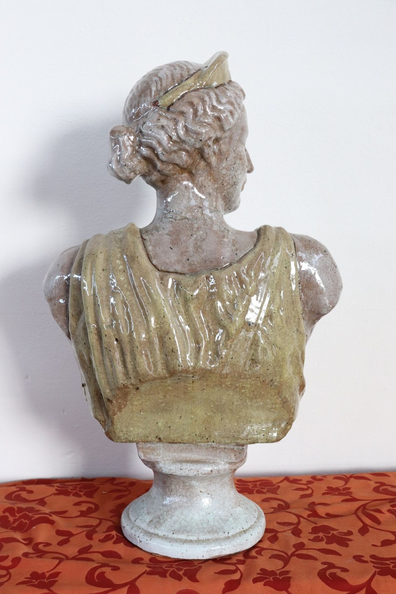 20th Century Italian Sculpture in Glazed Clay Bust of a Roman Woman