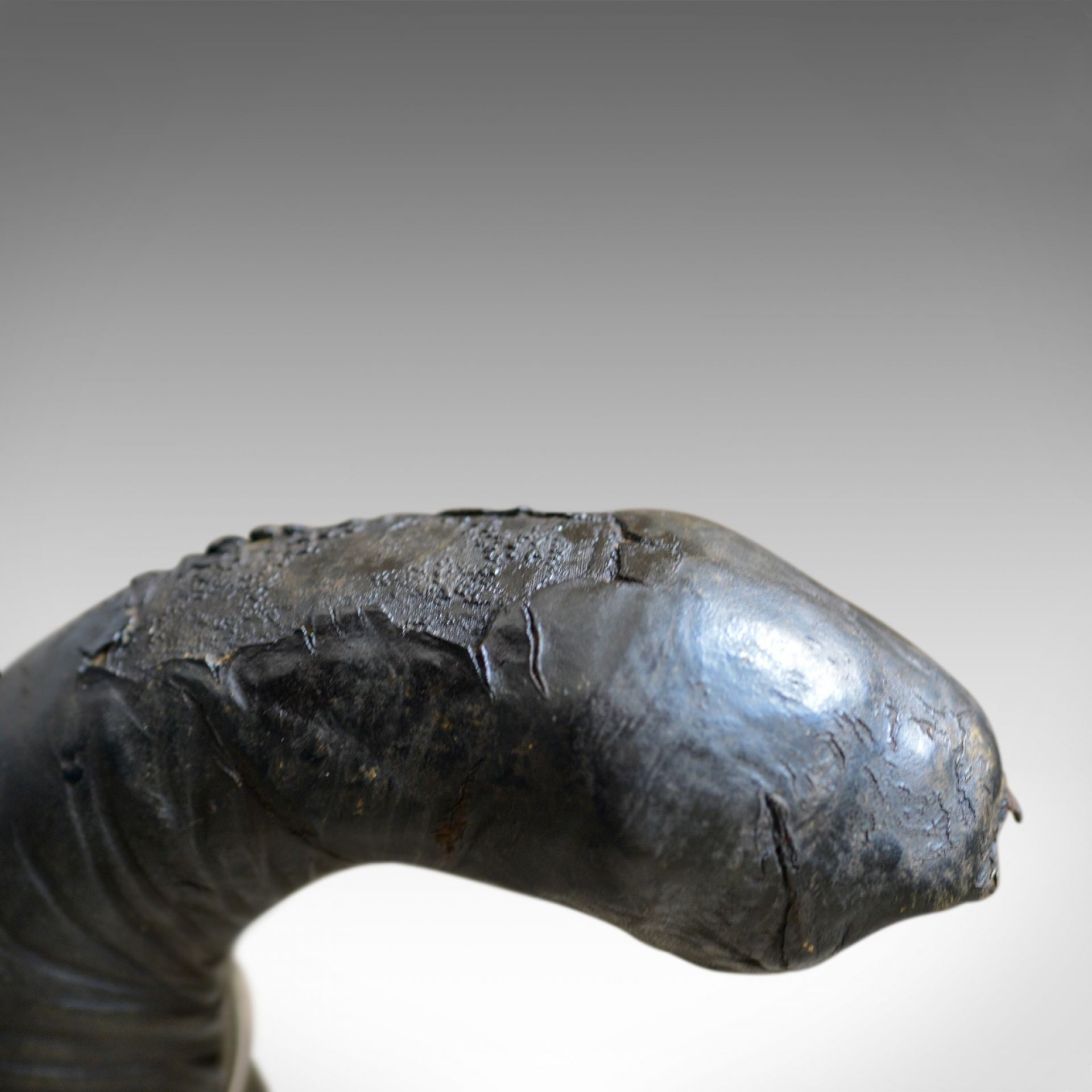 Large Vintage Leather Elephant Sculpture, 3 Foot Tall Model, Mid 20th Century